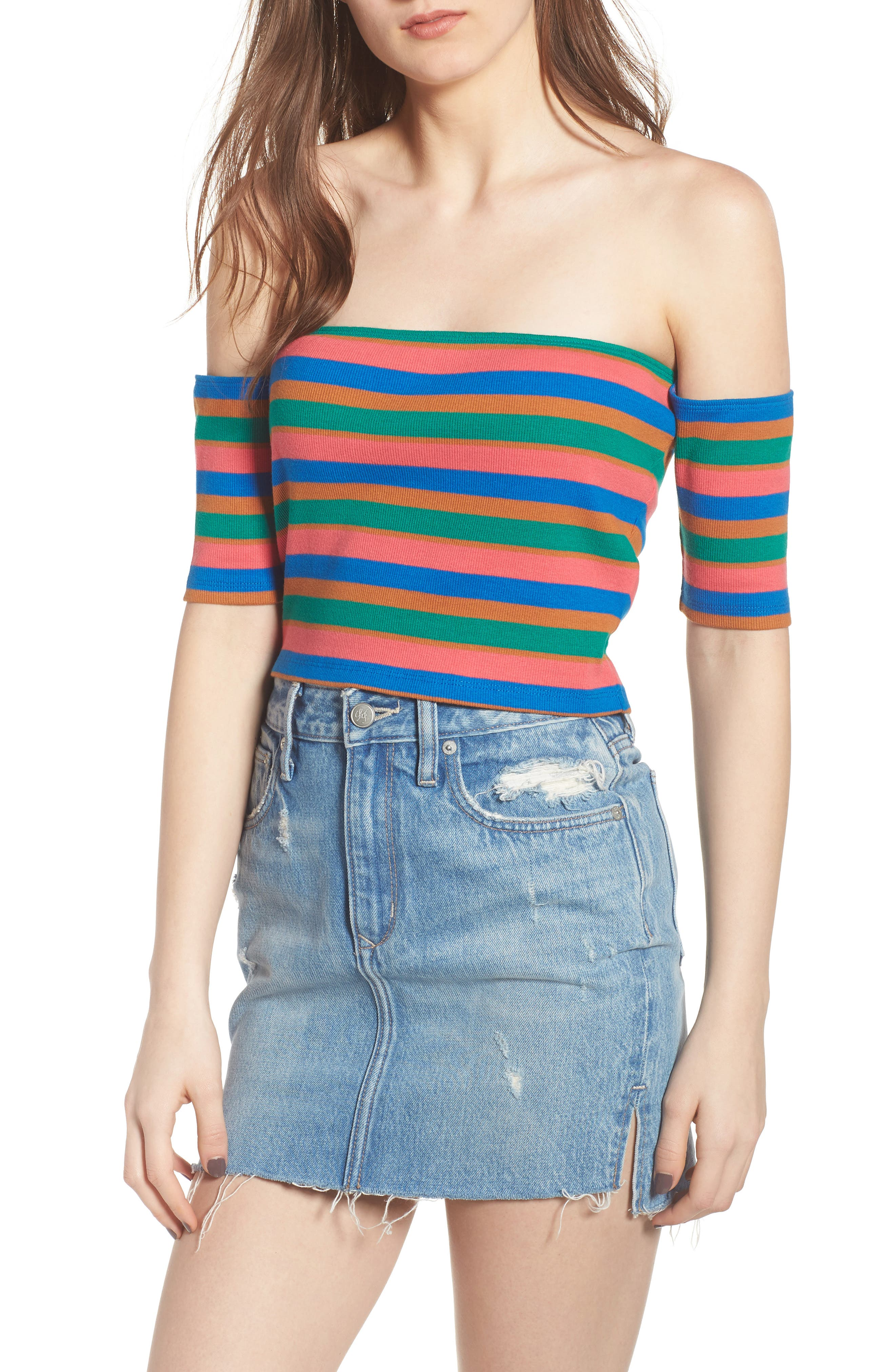 Stripe Off the Shoulder Top,                             Main thumbnail 1, color,                             Pink Ribbon Spicy Stripe