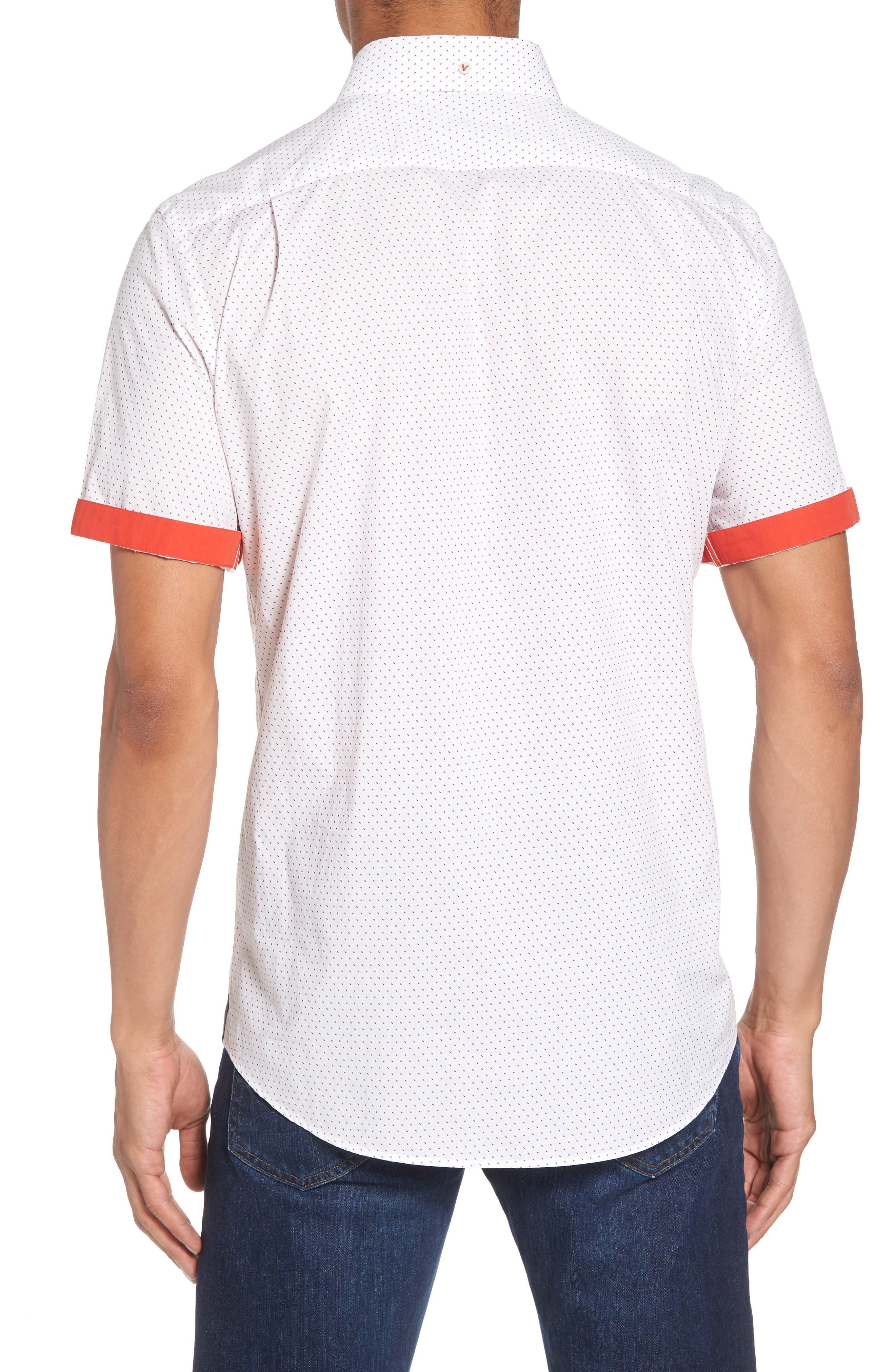 Dot Print Shirt,                             Alternate thumbnail 3, color,                             Canvas / Red Coral