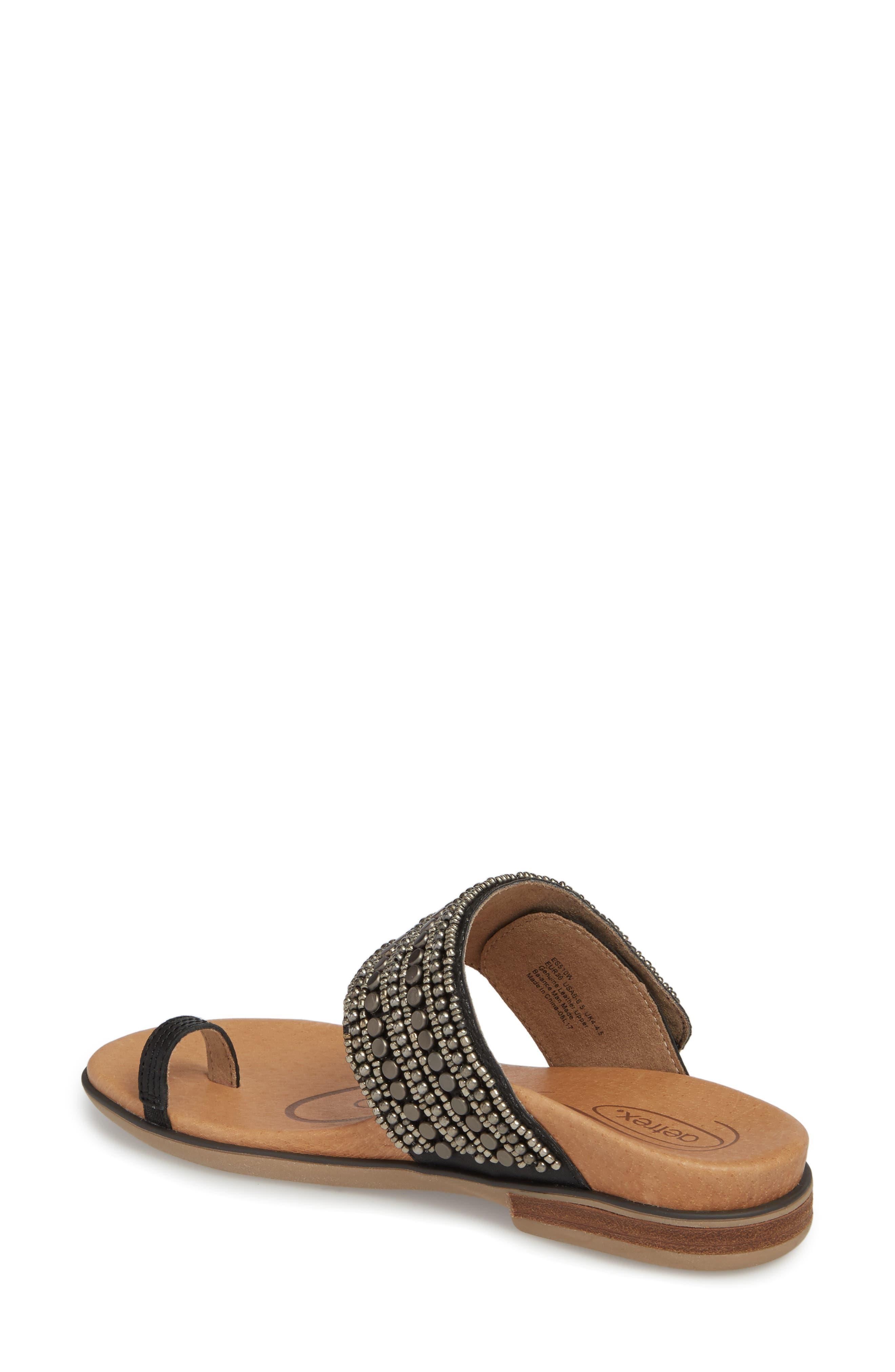 Layla Embellished Slide Sandal,                             Alternate thumbnail 2, color,                             Black Leather