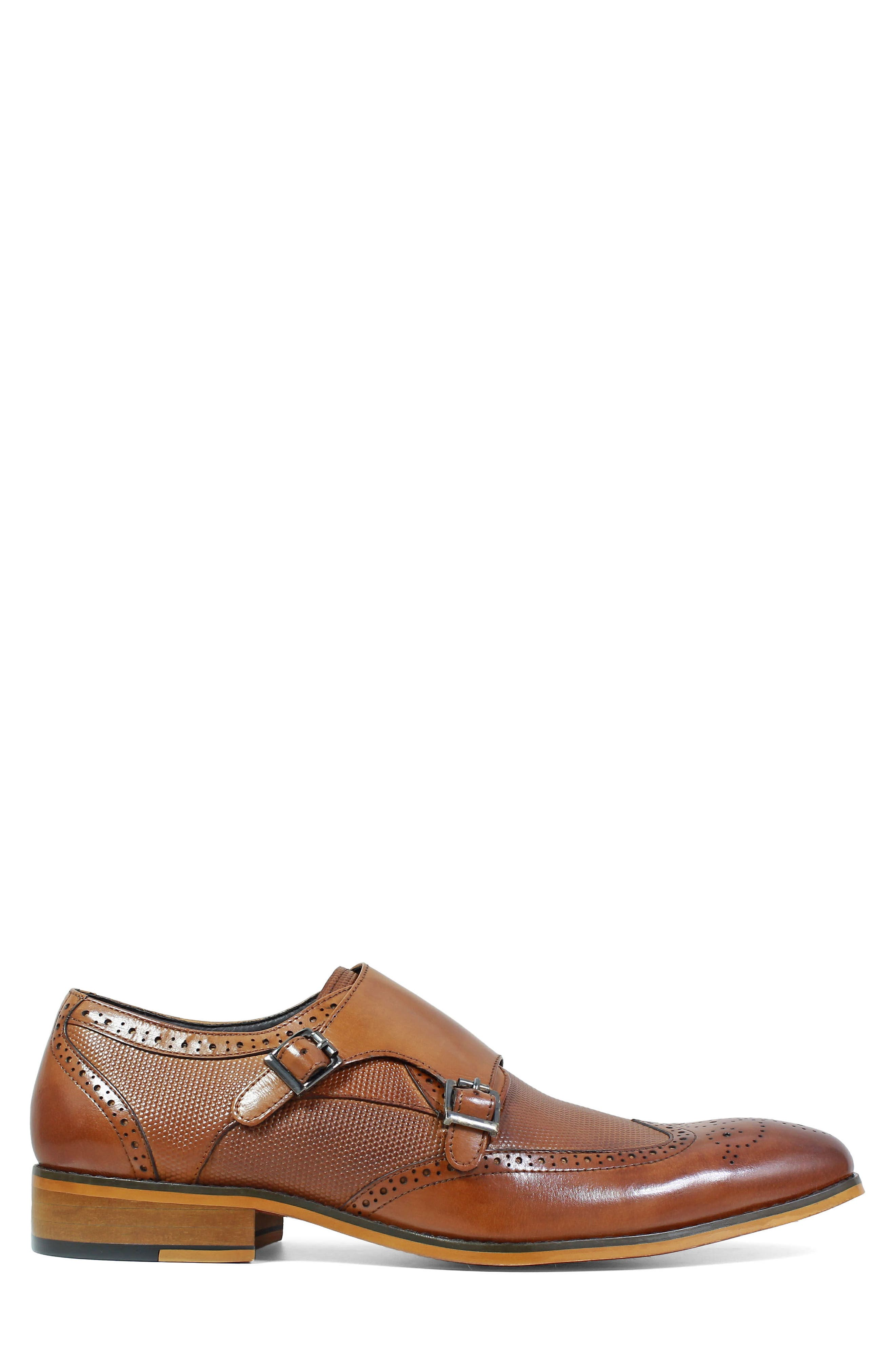 Lavine Wingtip Monk Shoe,                             Alternate thumbnail 3, color,                             Saddle Tan Leather