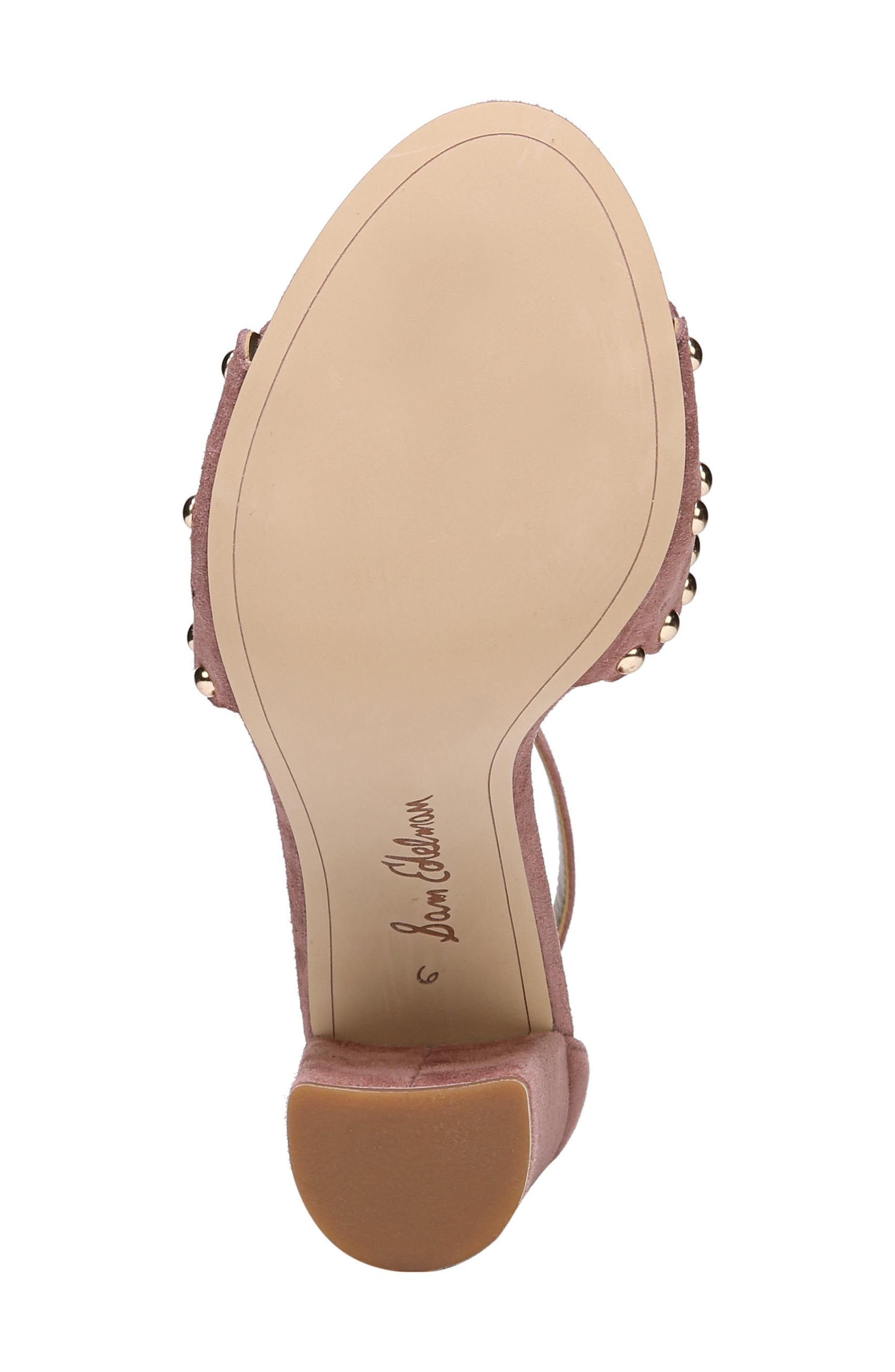 Yaria Studded Block Heel Sandal,                             Alternate thumbnail 6, color,                             Dusty Rose Suede