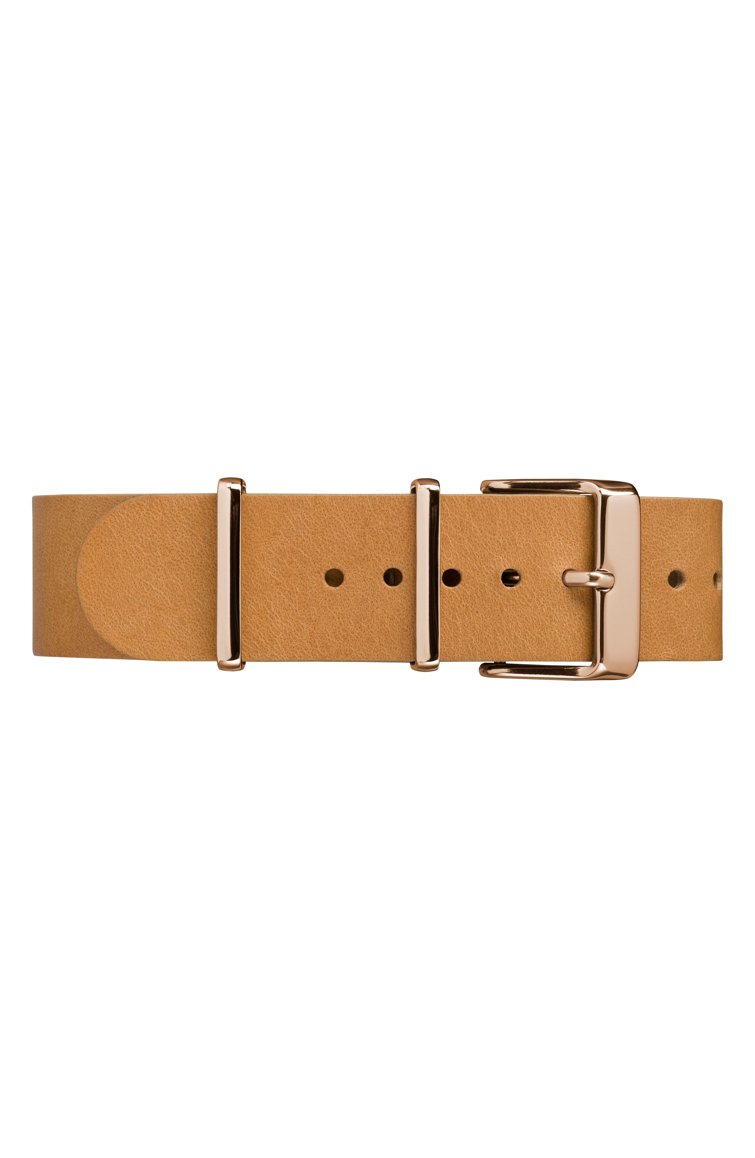 Fairfield Leather Strap Watch, 41mm,                             Alternate thumbnail 3, color,                             Tan/ White/ Rose Gold