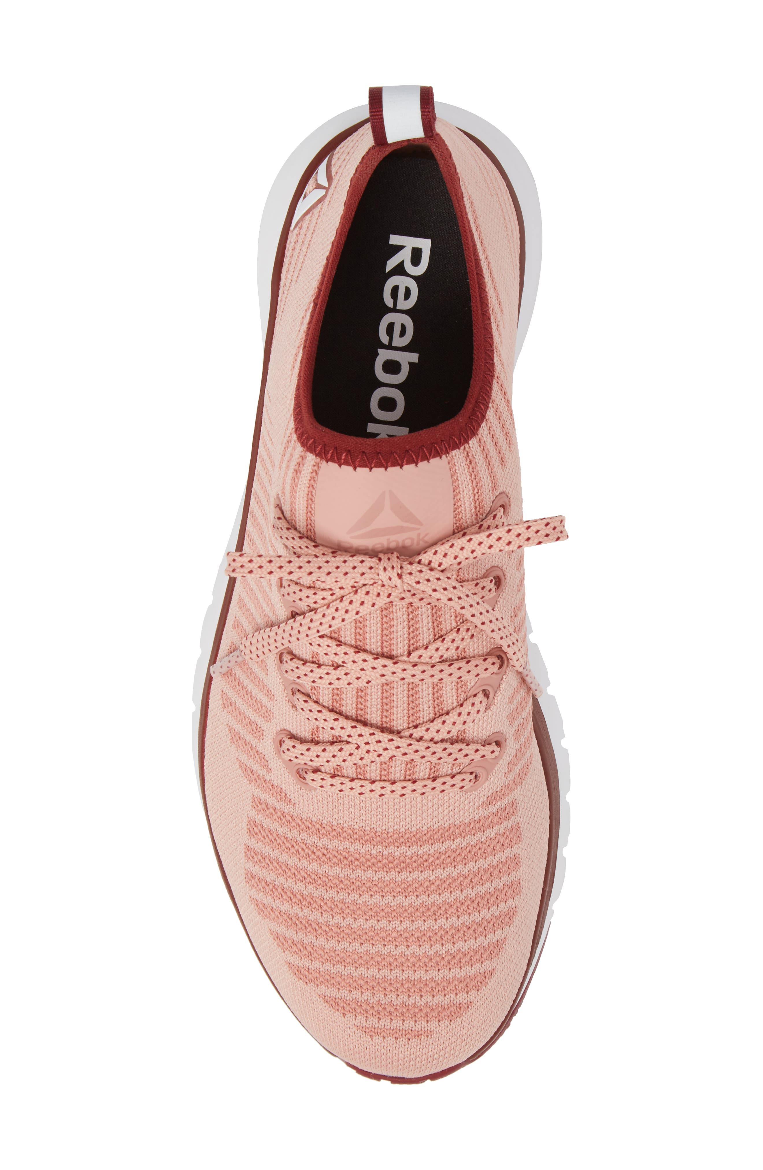 Print Run Smooth Ultra Knit Running Shoe,                             Alternate thumbnail 5, color,                             Chalk Pink/ Urban Maroon