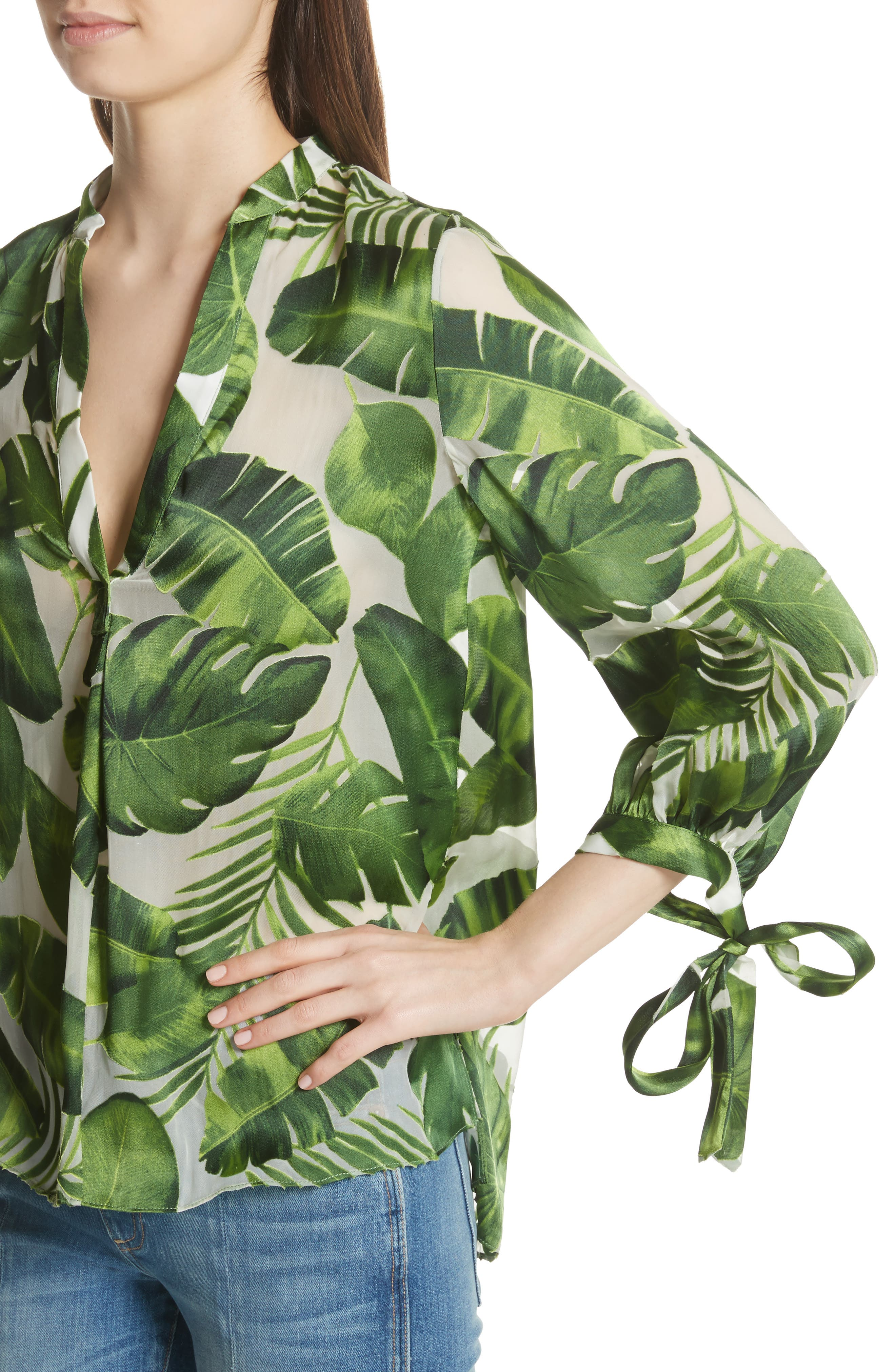 Sheila Tie Sleeve Top,                             Alternate thumbnail 4, color,                             Tropical Leaves