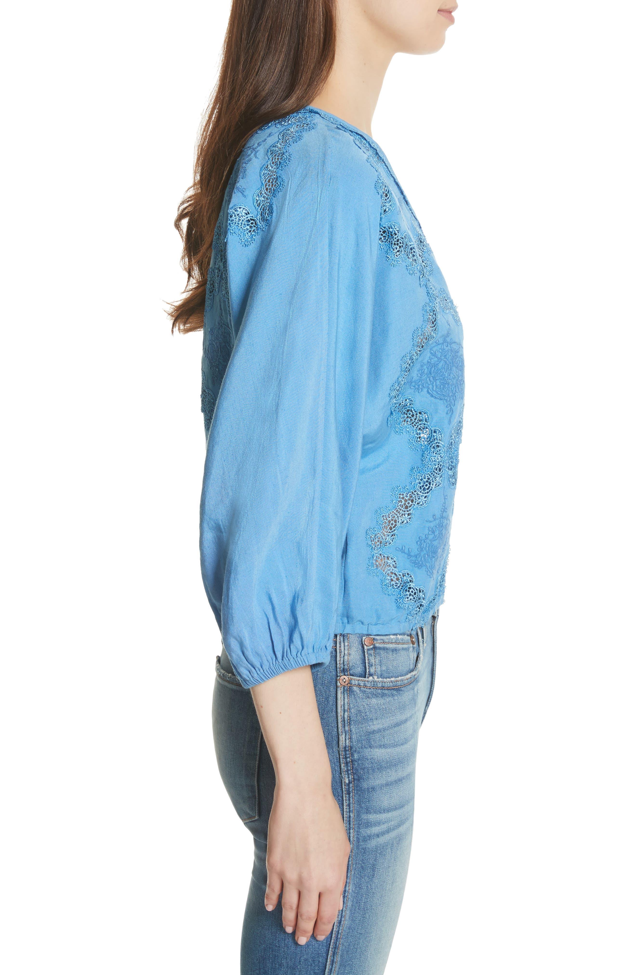 Alternate Image 3  - Alice + Olivia Hilma Embroidered Blouson Sleeve Blouse