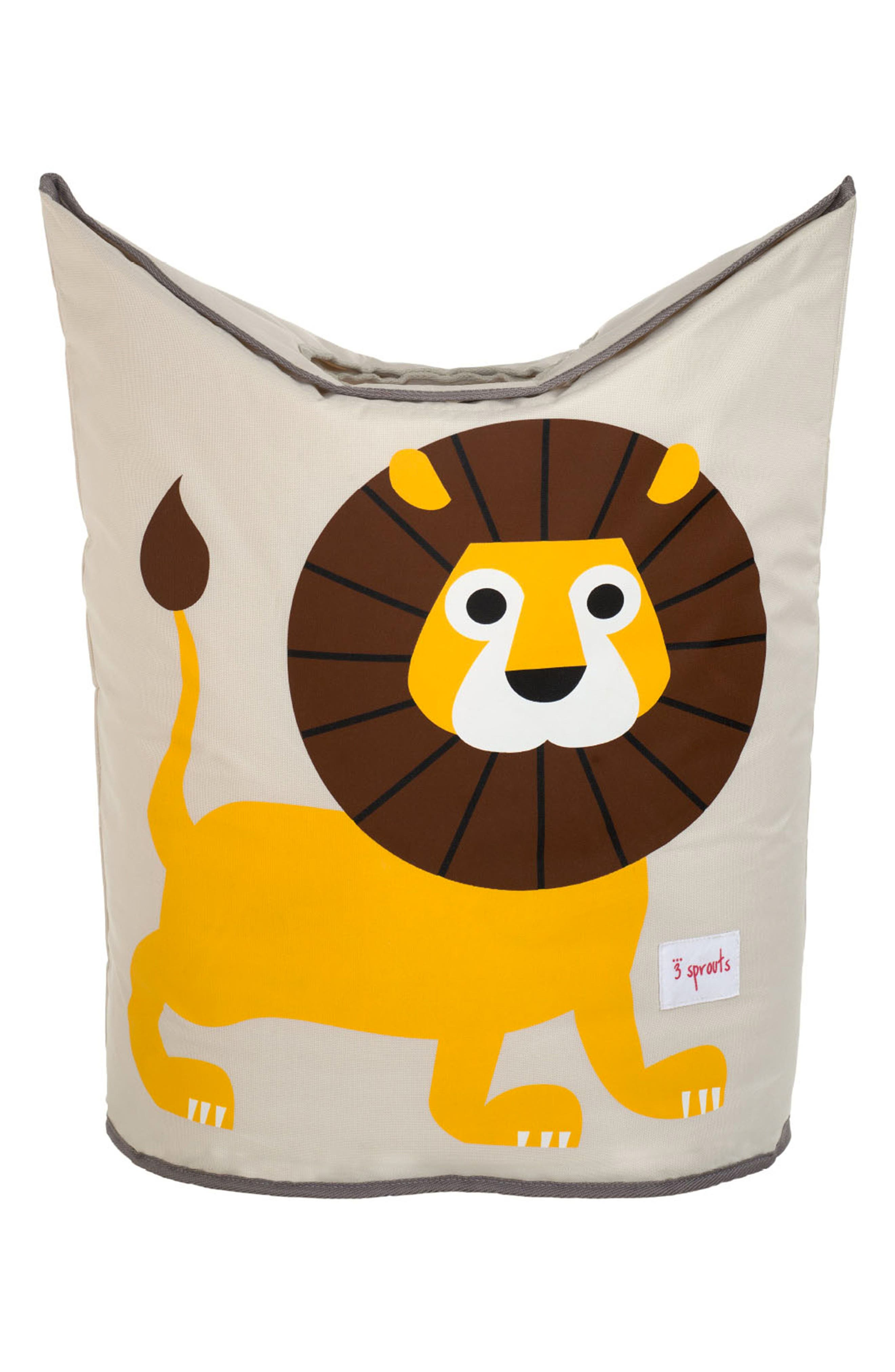 Lion Canvas Laundry Hamper,                         Main,                         color, Yellow