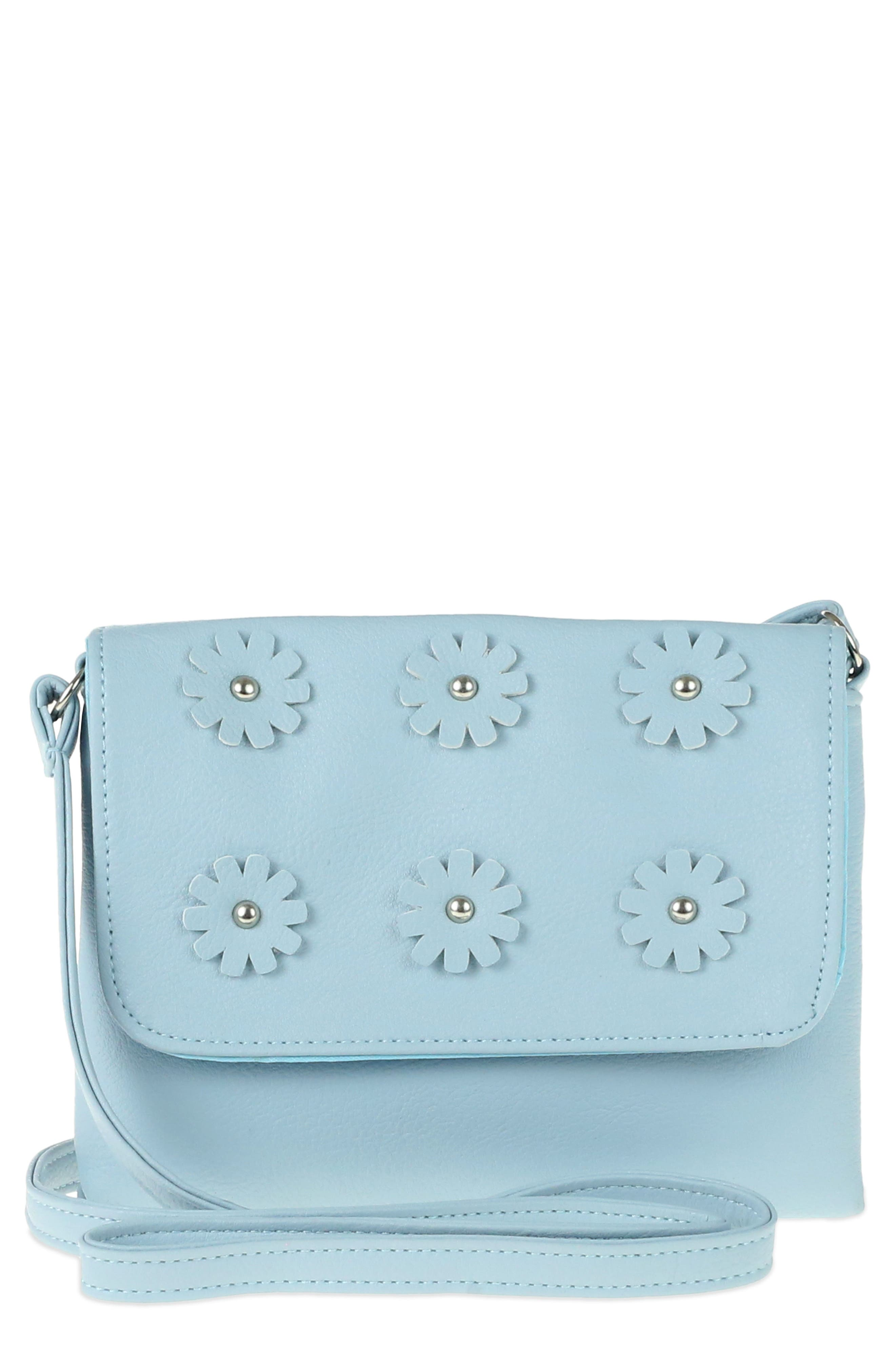3D Flower Embellished Crossbody Bag,                             Main thumbnail 1, color,                             Light Blue