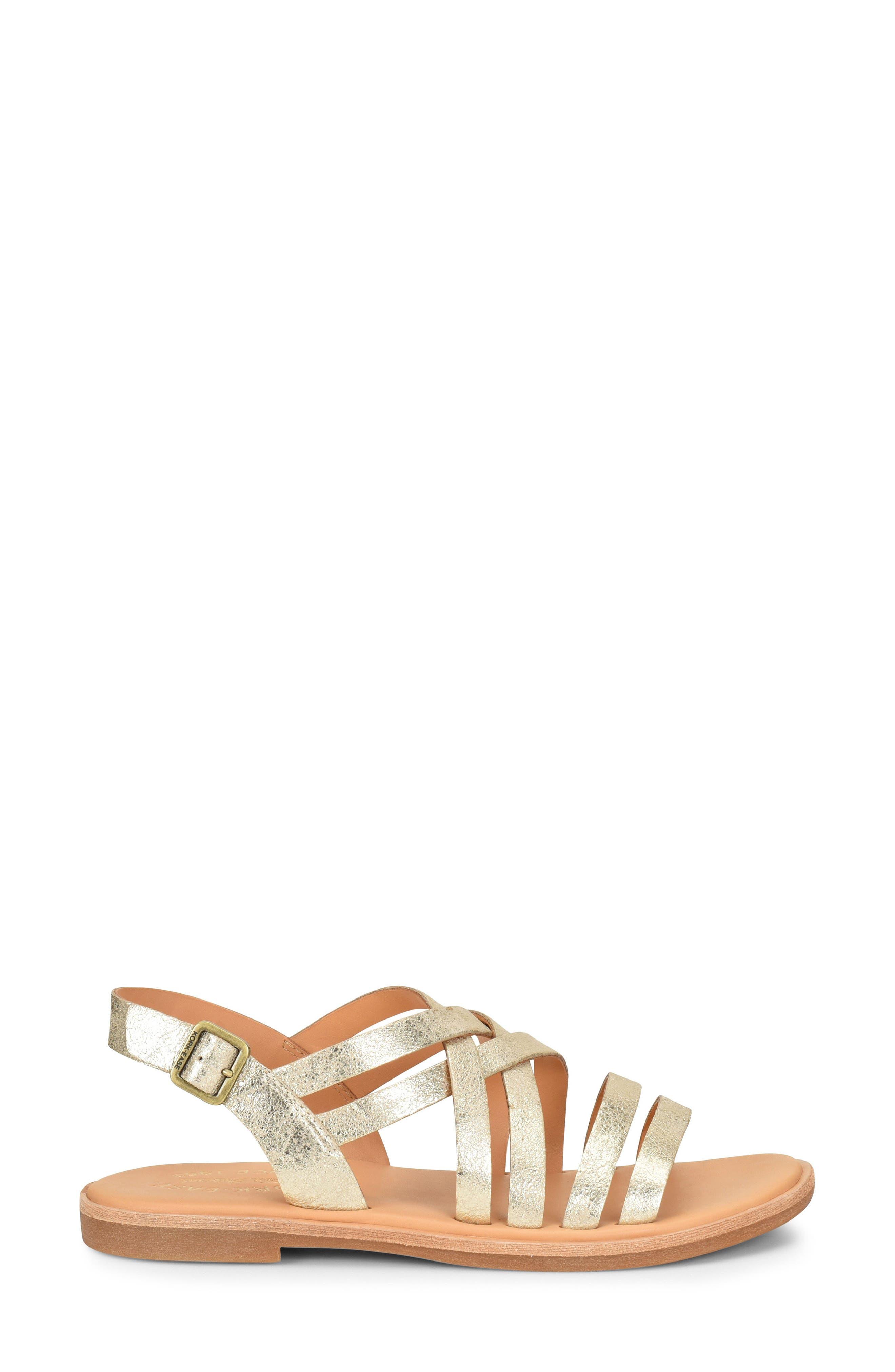 Nicobar Sandal,                             Alternate thumbnail 3, color,                             Gold Metallic Leather