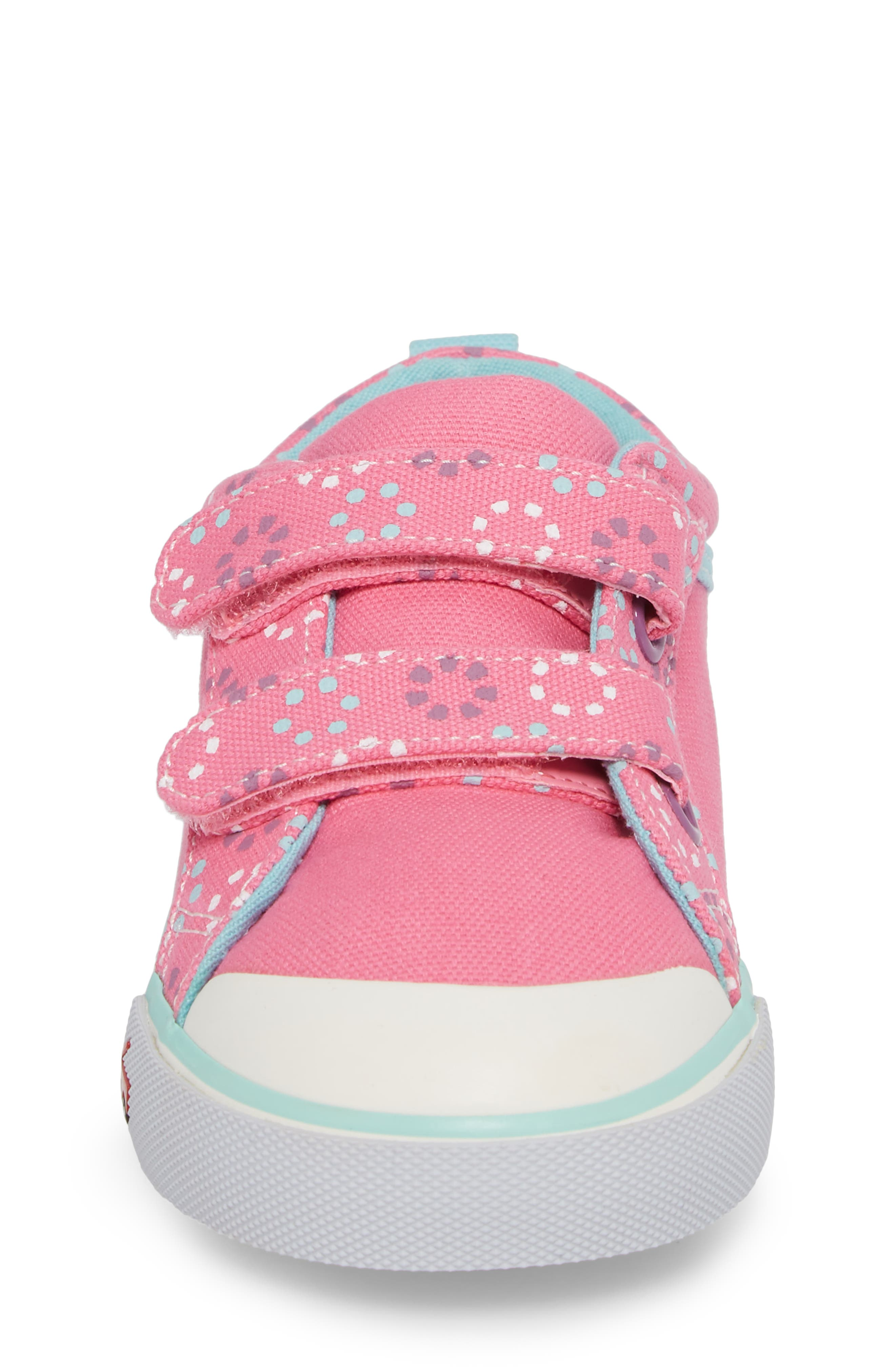 'Robyne' Sneaker,                             Alternate thumbnail 4, color,                             Hot Pink Circle Mix