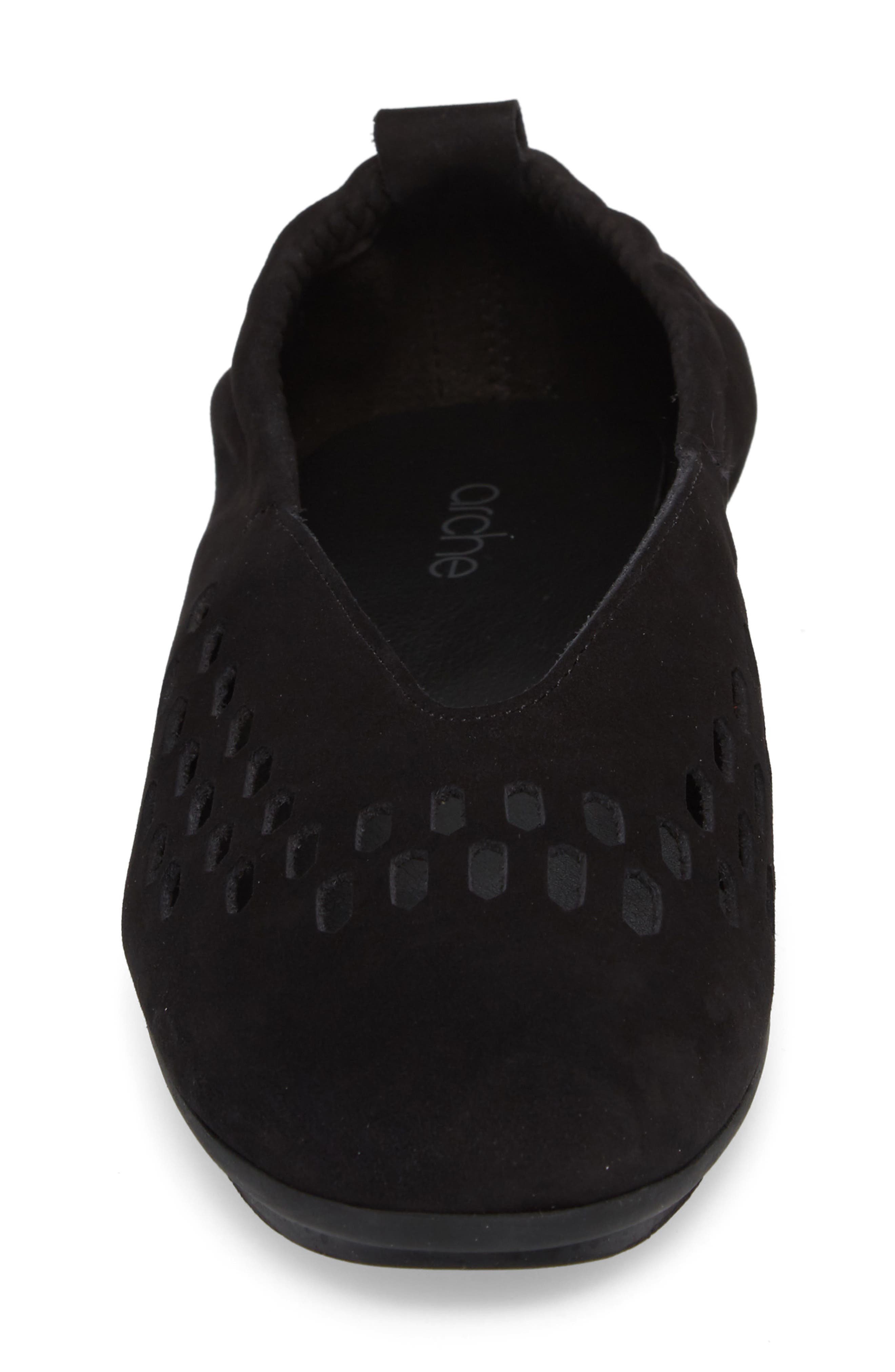 Bibiza Flat,                             Alternate thumbnail 4, color,                             Noir Nubuck Leather