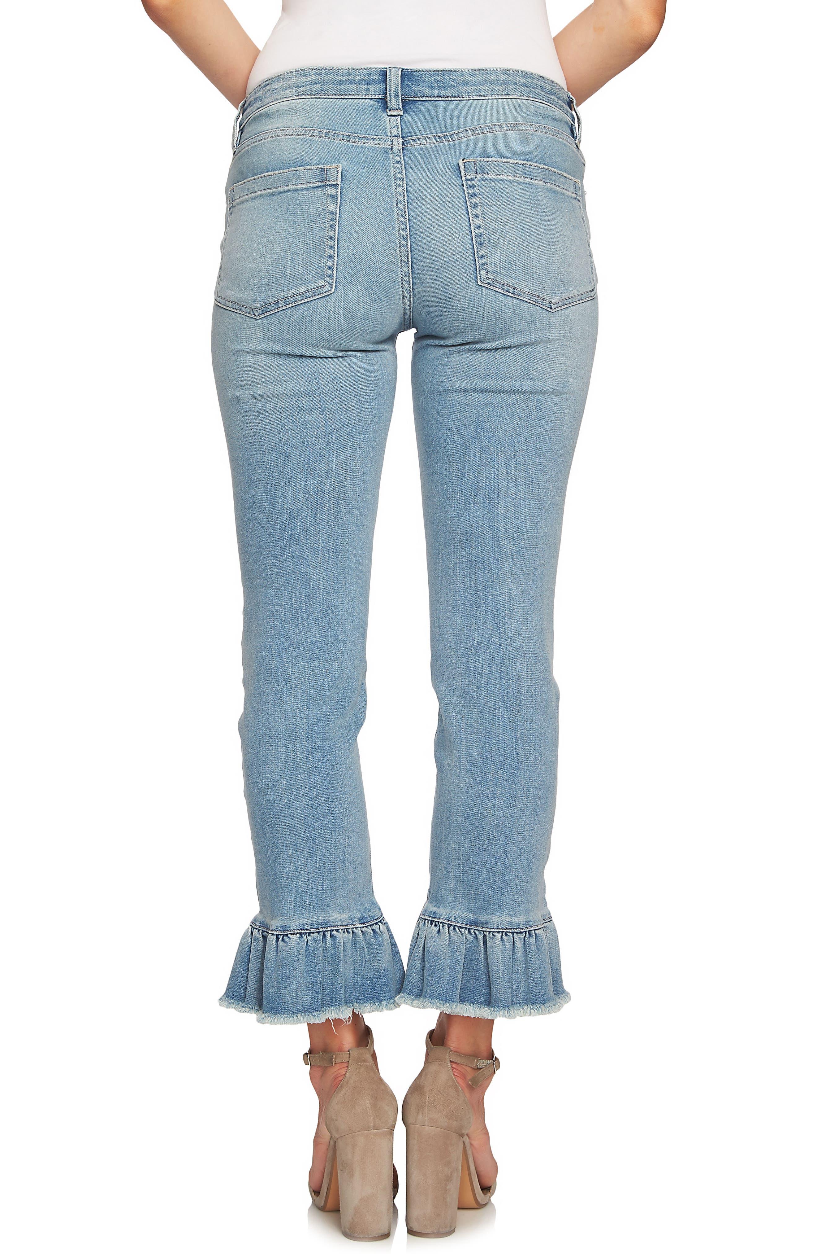 Ruffle Hem Ankle Jeans,                             Alternate thumbnail 2, color,                             Sun Washed Blue