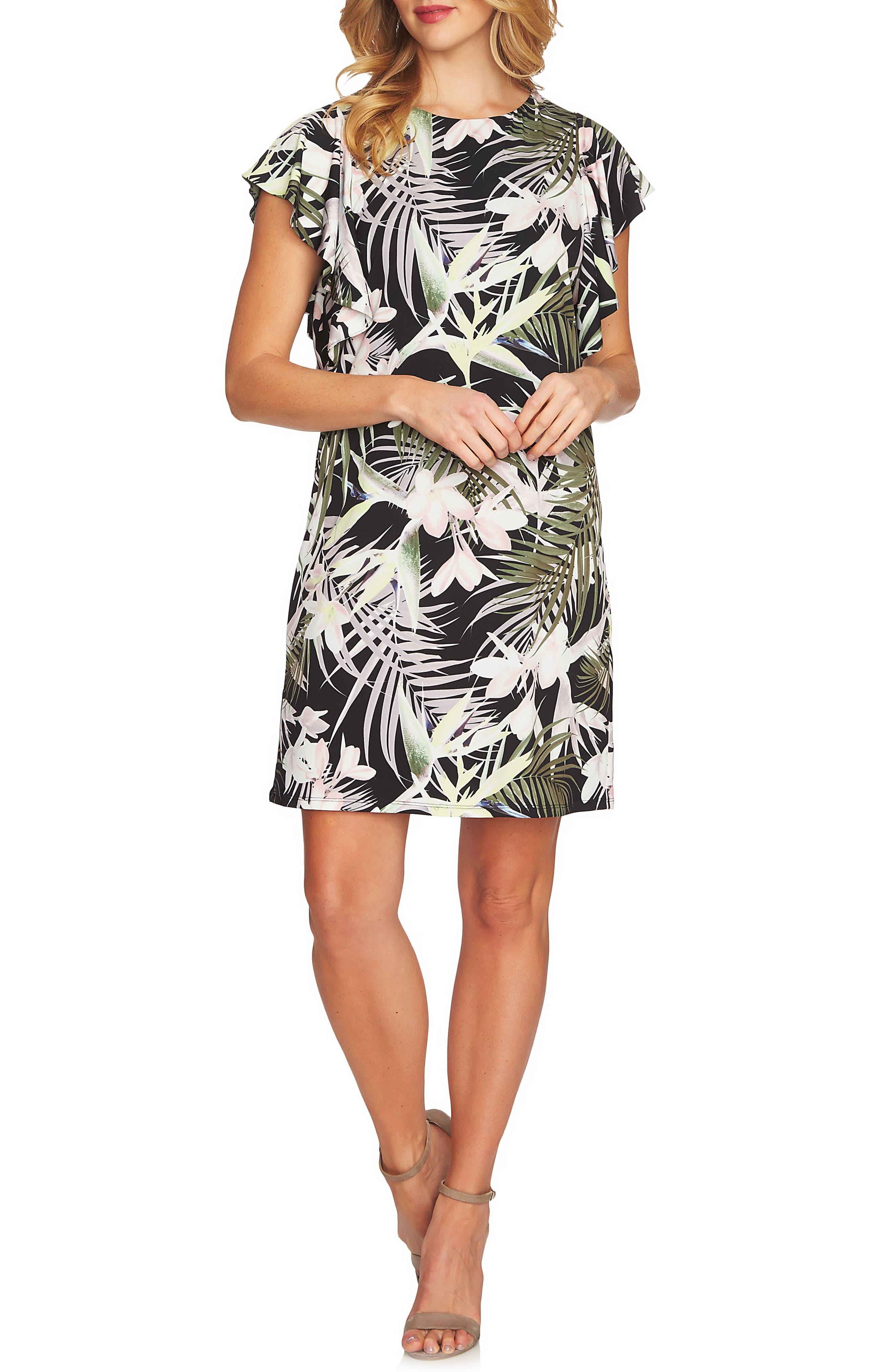 Soft Palms Flutter Sleeve Dress,                             Main thumbnail 1, color,                             Rich Black