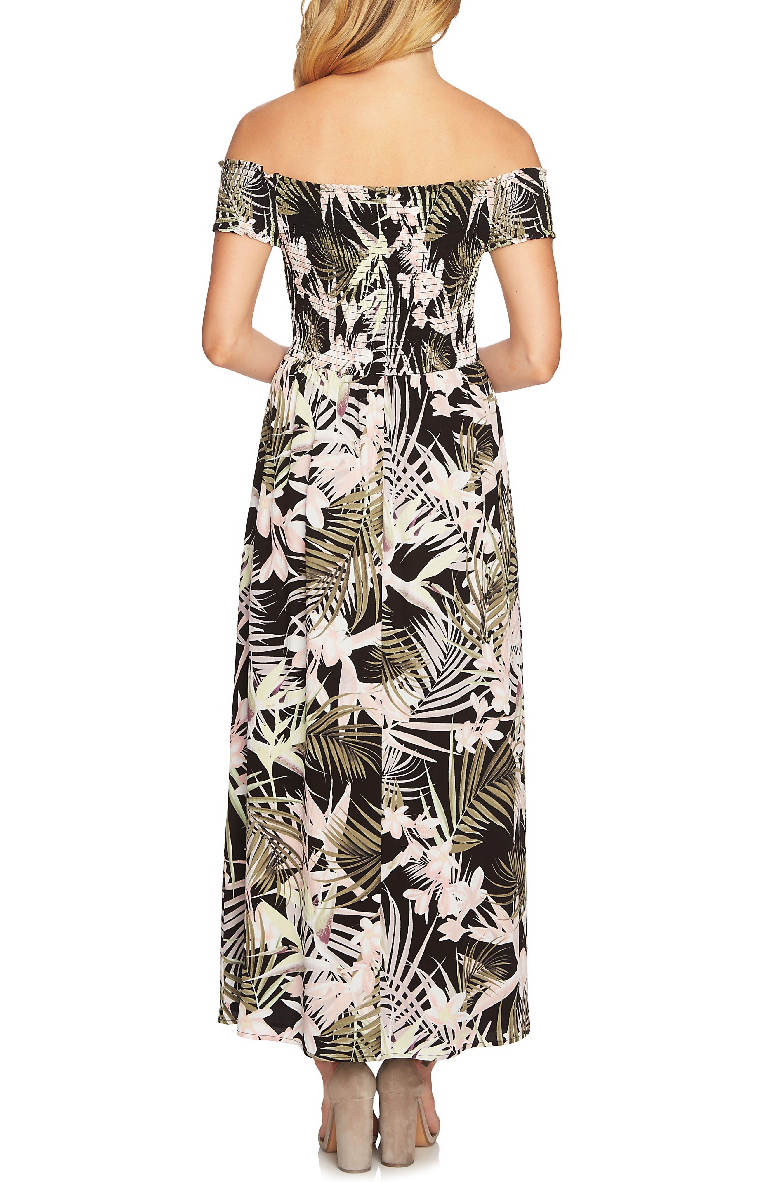 Soft Palm Maxi Dress,                             Alternate thumbnail 2, color,                             Rich Black