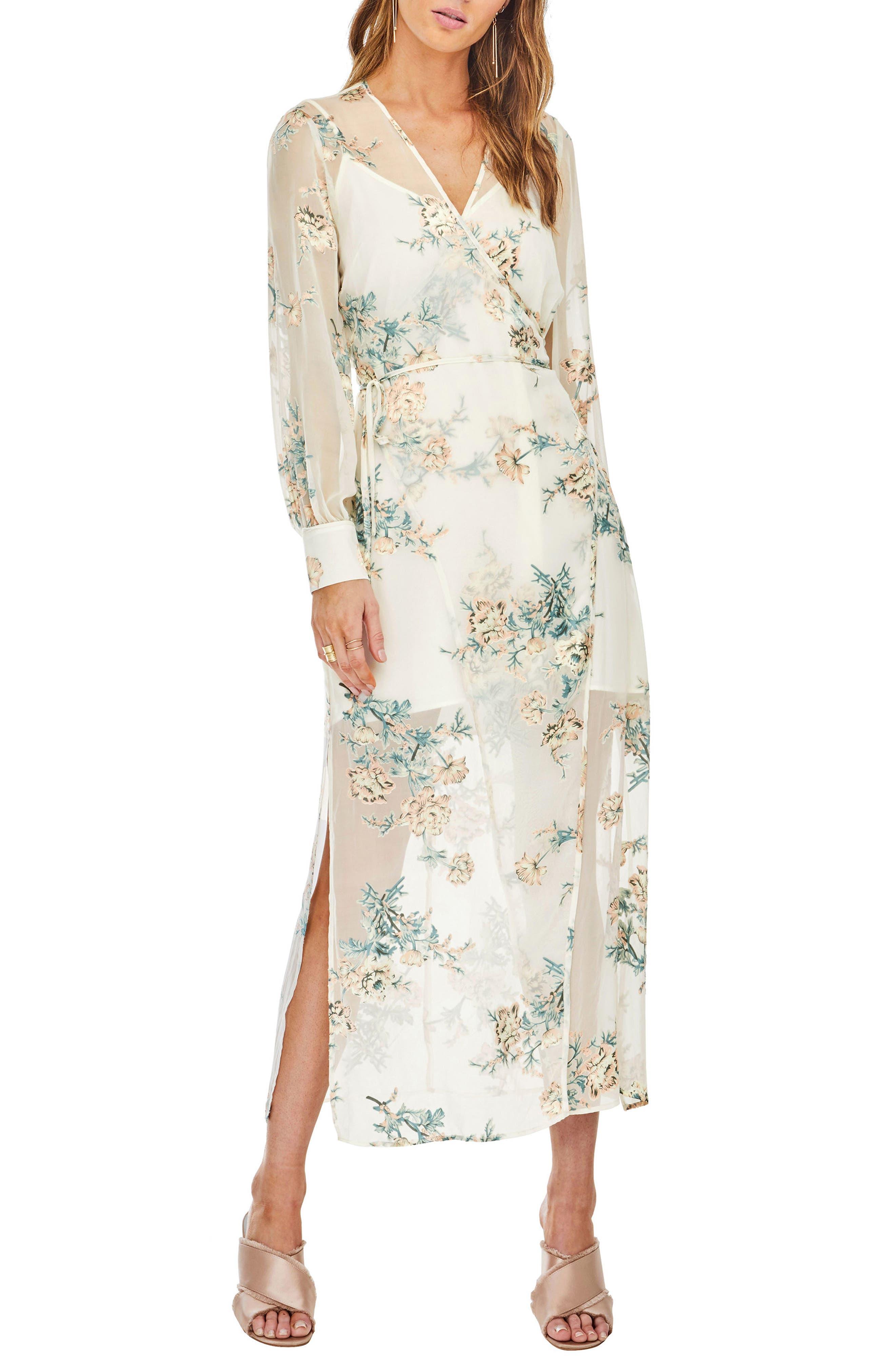 Riley Wrap Midi Dress,                         Main,                         color, Cream/Blush Floral