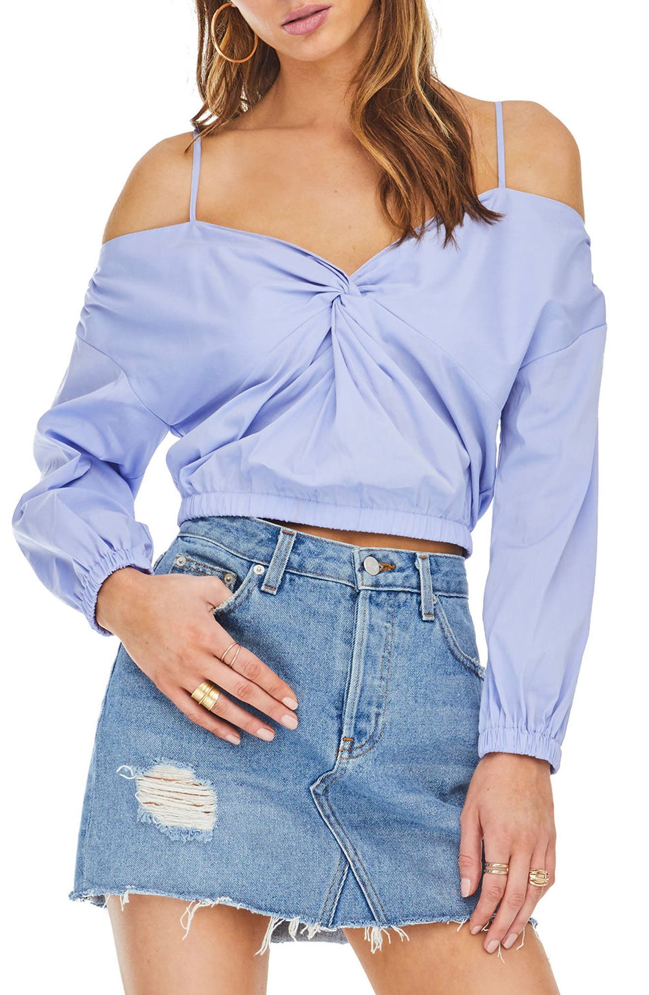 Raegan Off the Shoulder Top,                             Main thumbnail 1, color,                             Cotton Blue