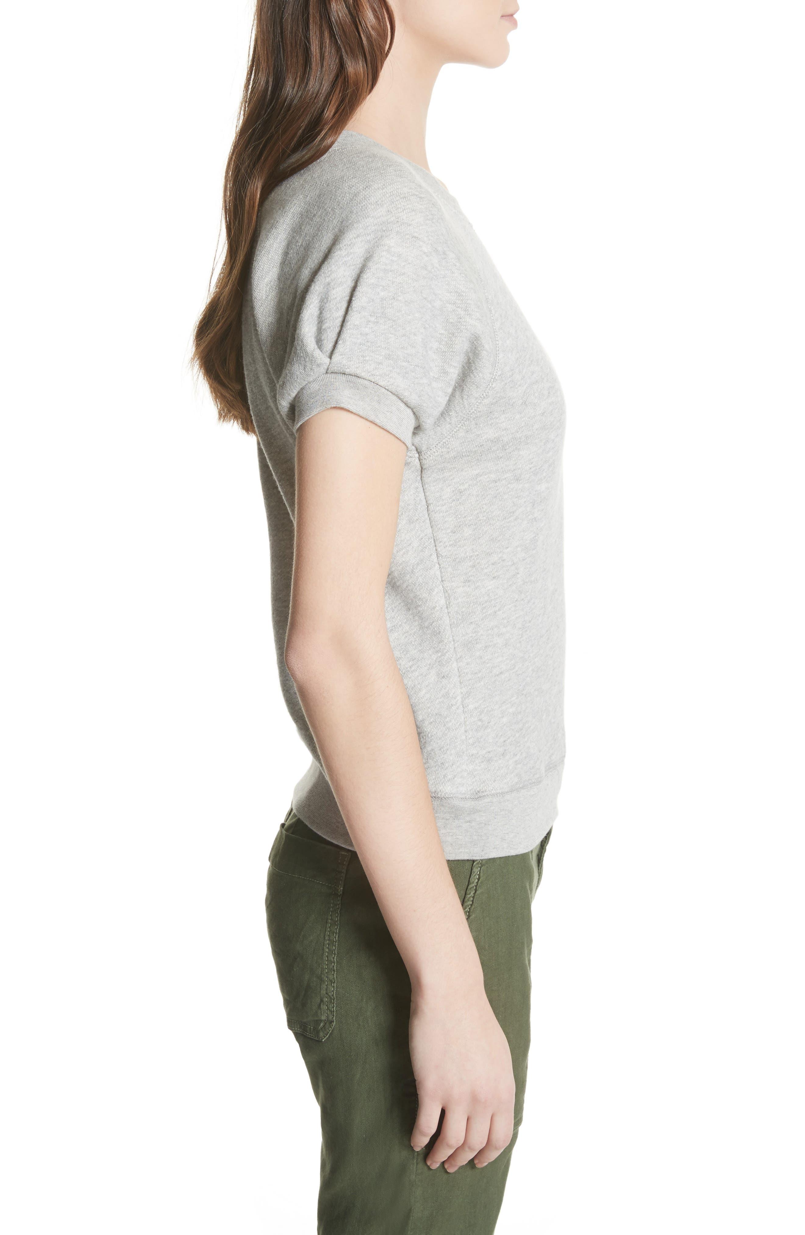 Christal Puff Sleeve Sweatshirt,                             Alternate thumbnail 3, color,                             Heather Grey