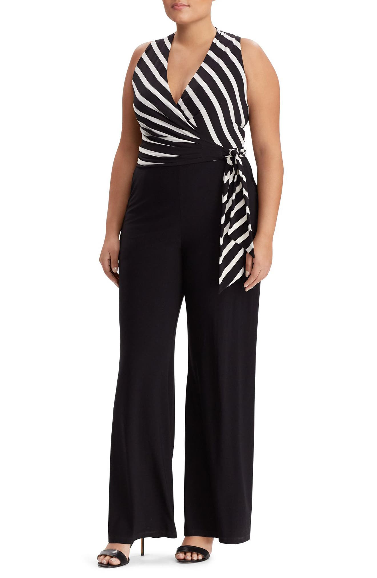 Lauren Ralph Lauren Stripe Sleeveless Jumpsuit (Plus Size)