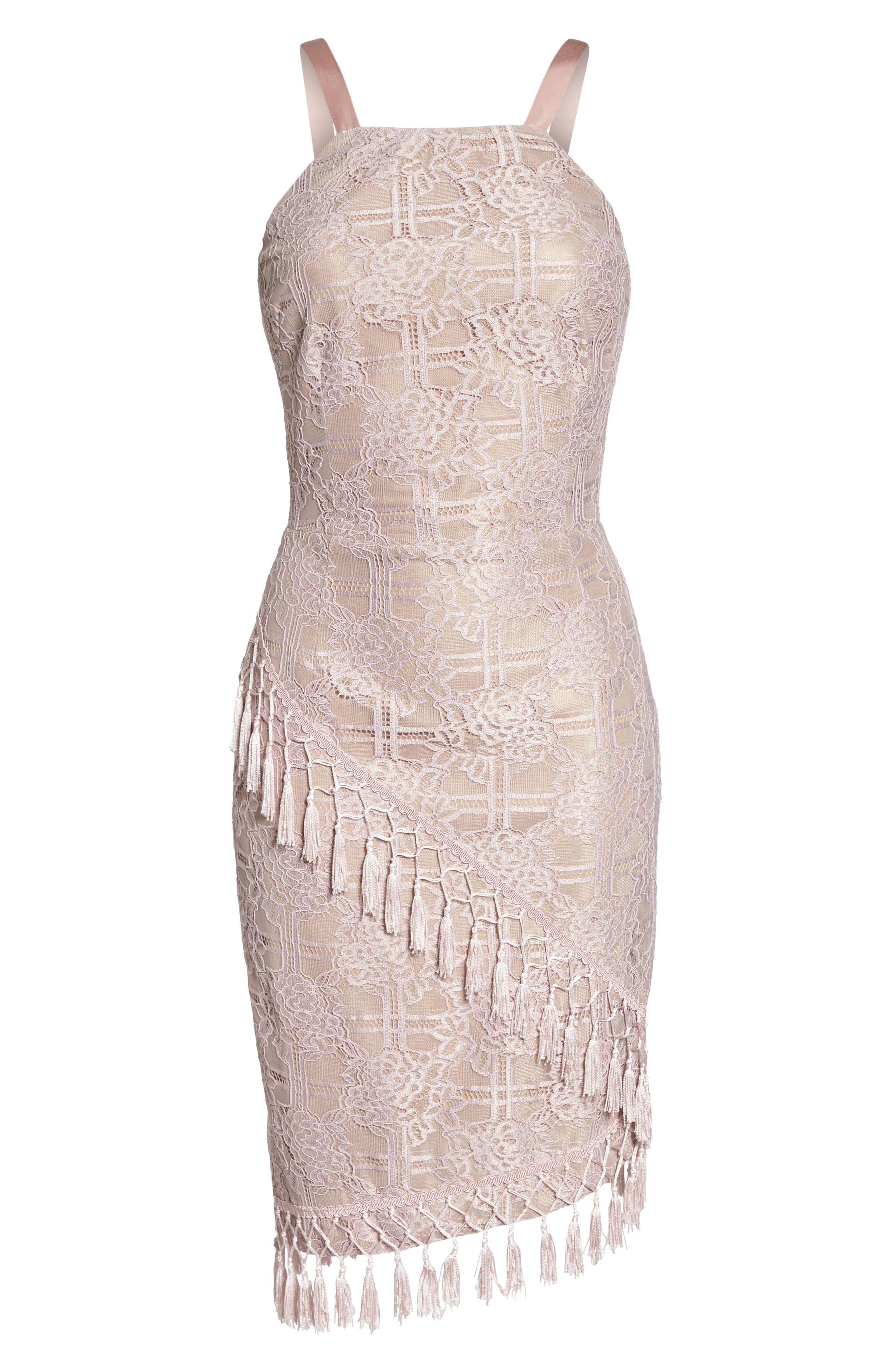 Natasha Asymmetrical Lace Dress,                             Alternate thumbnail 6, color,                             Blush