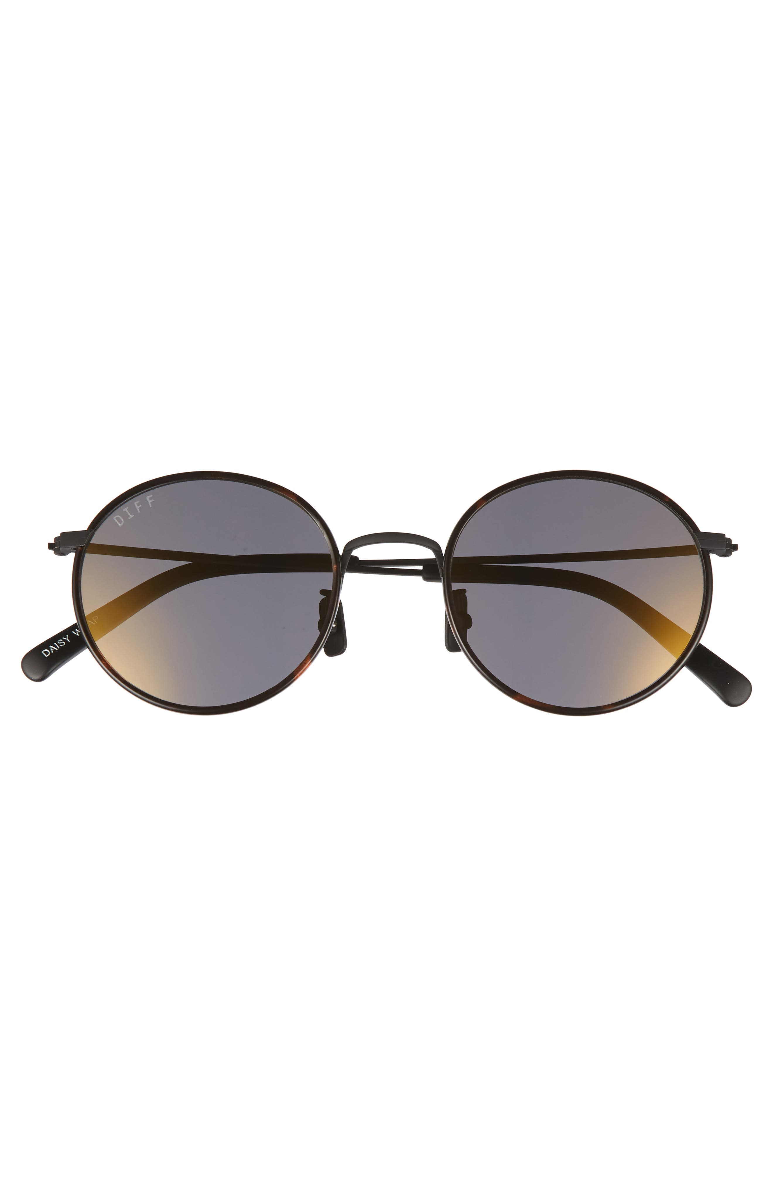 Daisy 57mm Polarized Round Lens Sunglasses,                             Alternate thumbnail 3, color,                             Matte Black/ Grey Blue