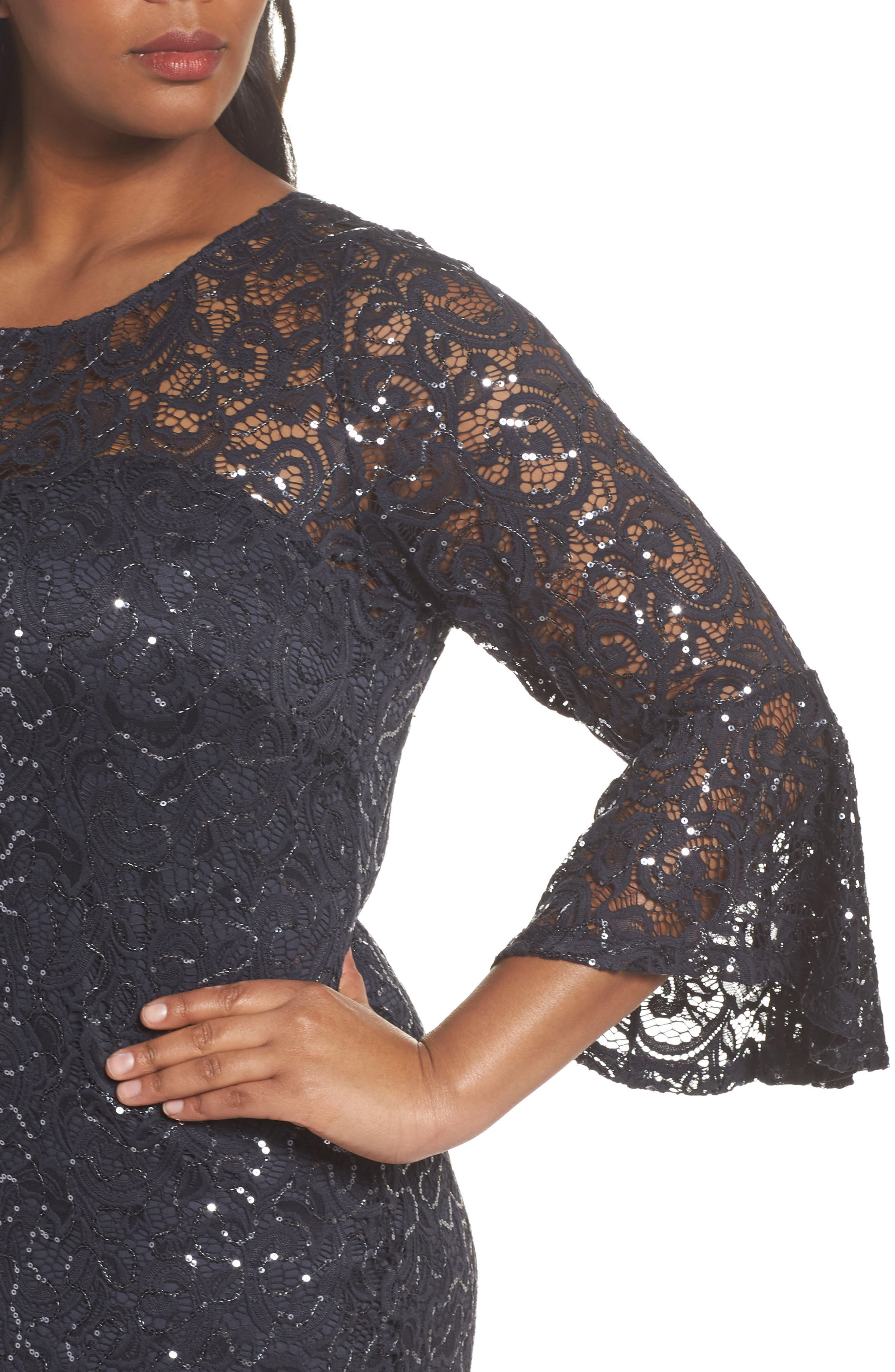 Sequin Lace Bell Sleeve Dress,                             Alternate thumbnail 4, color,                             Gunmetal