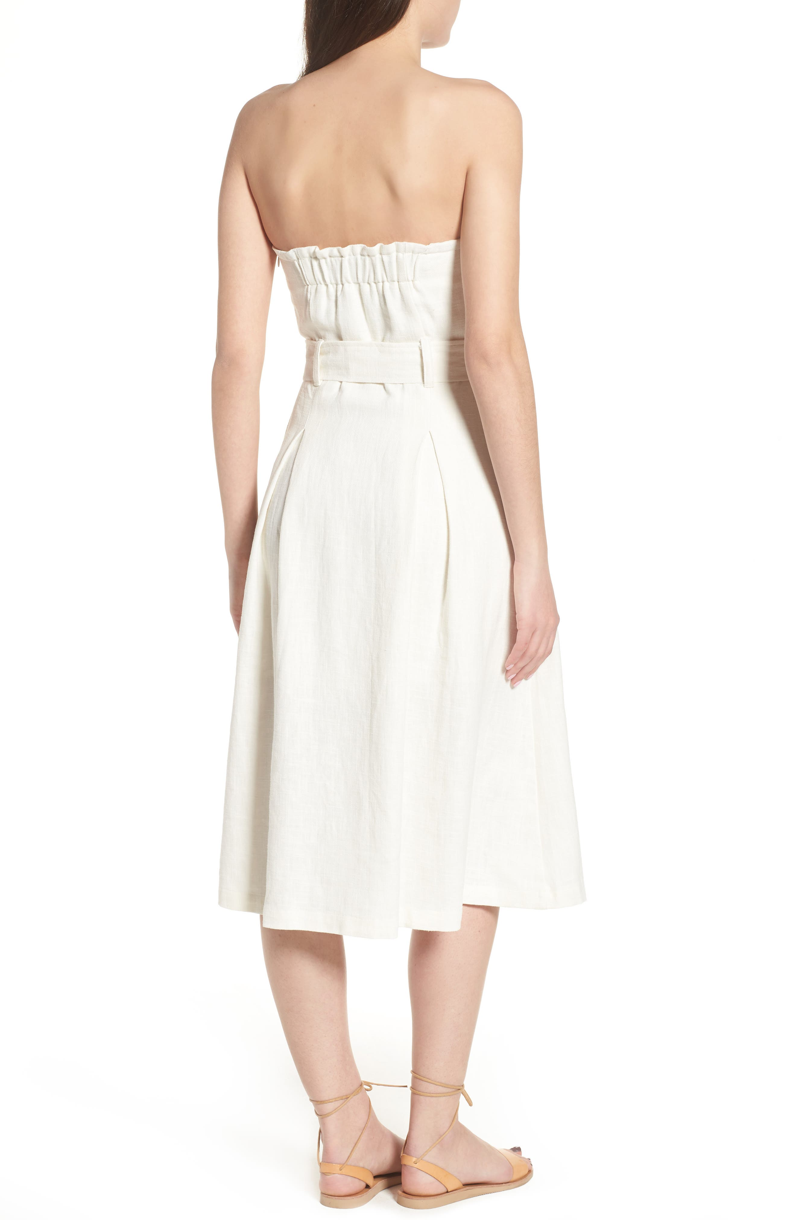 Linen & Cotton Strapless Dress,                             Alternate thumbnail 3, color,                             Ivory