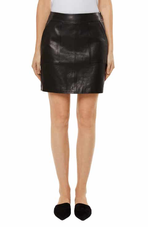 J Brand Patti Lambskin Leather Miniskirt
