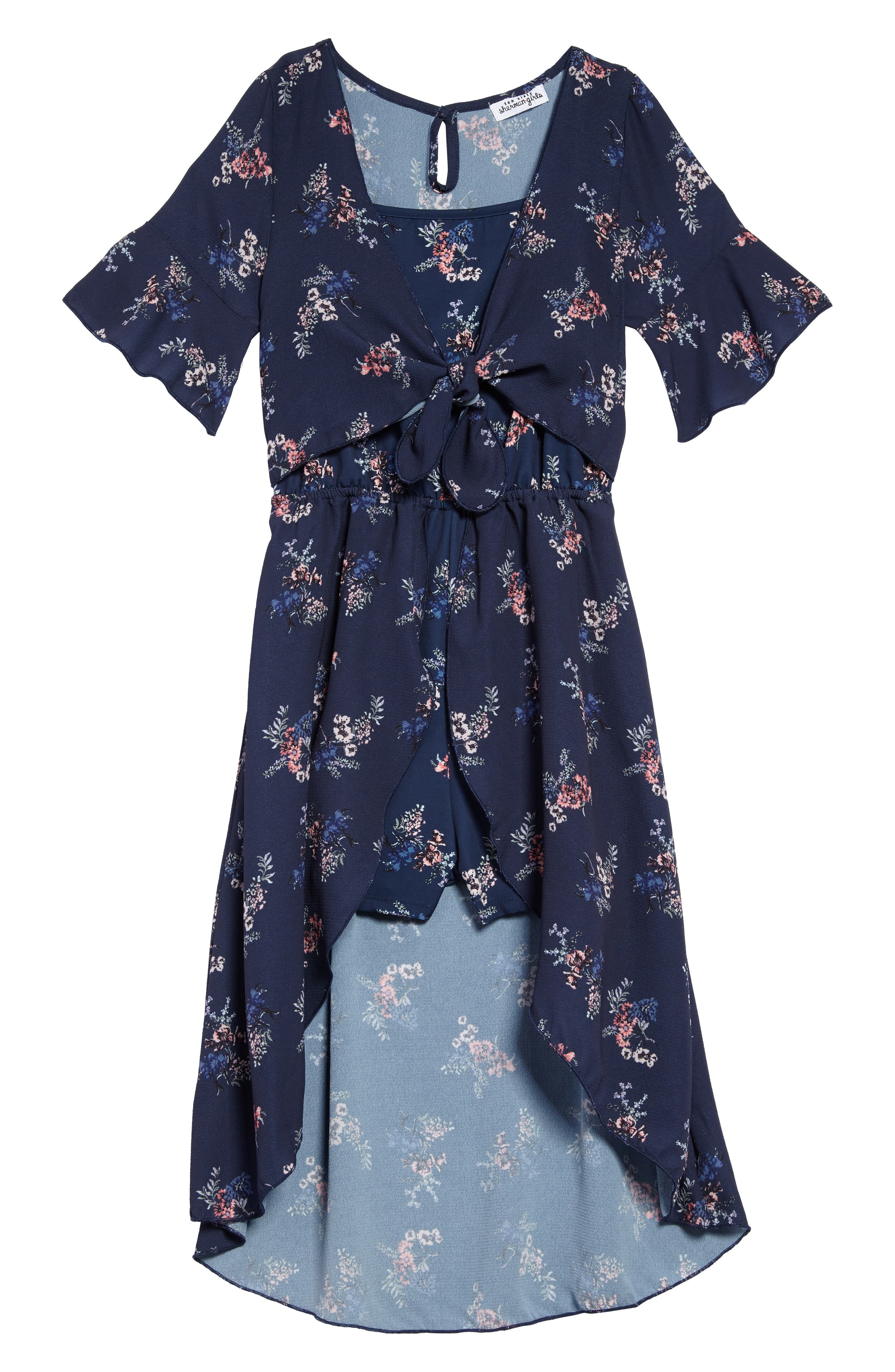 Floral Walk Through Romper,                         Main,                         color, Navy Floral