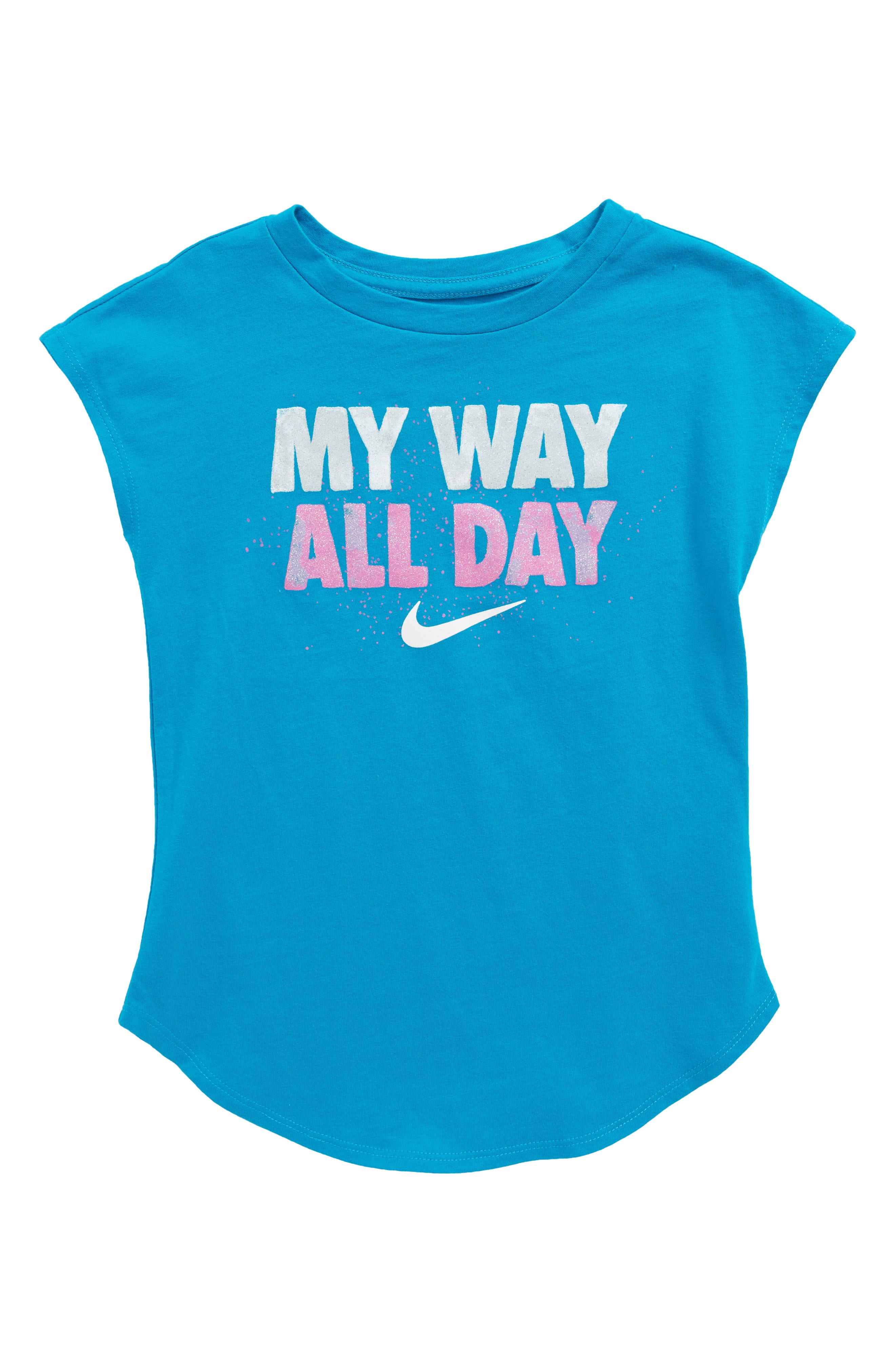 I Want It All Graphic Tee,                             Main thumbnail 1, color,                             Neon Turquoise