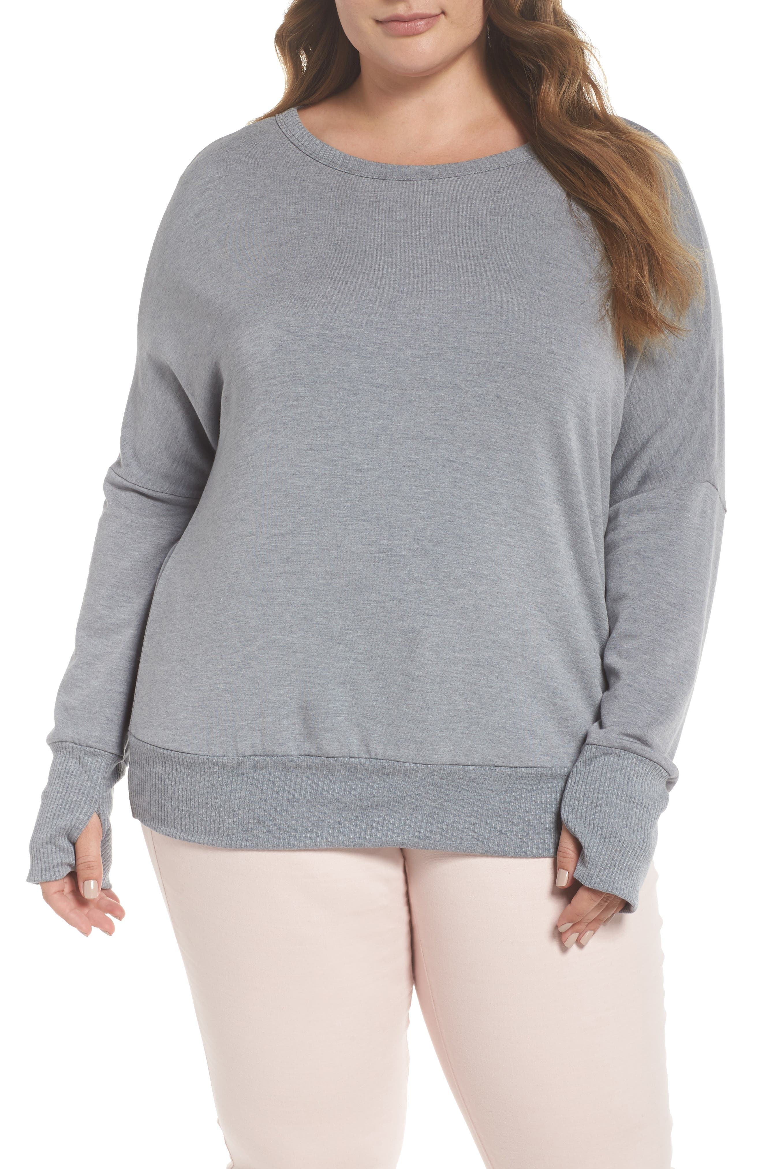 Caslon® Off Duty Drop Shoulder Sweatshirt (Plus Size)