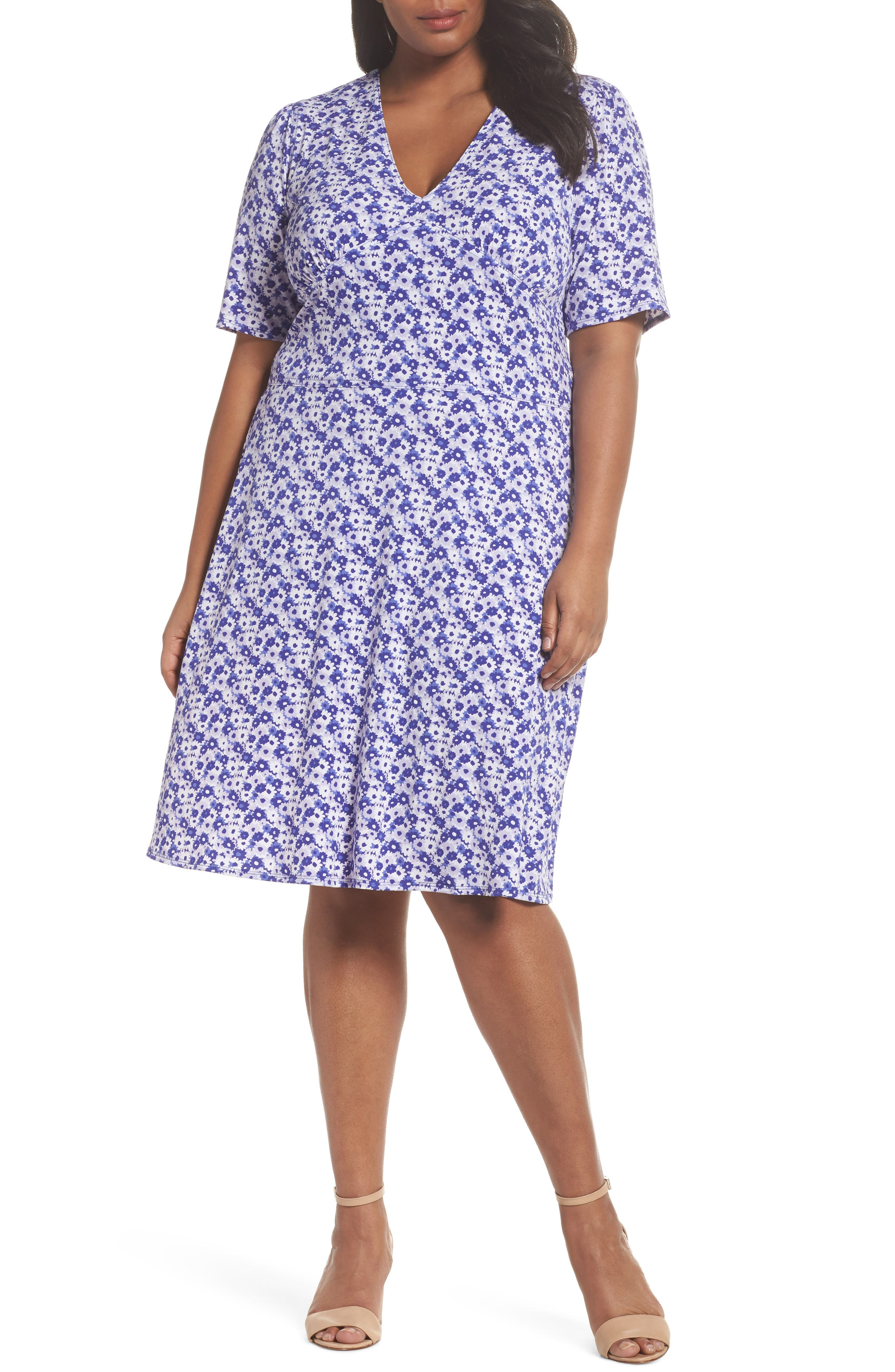 MICHAEL Michael Kors Floral Fit & Flare Dress (Plus Size)