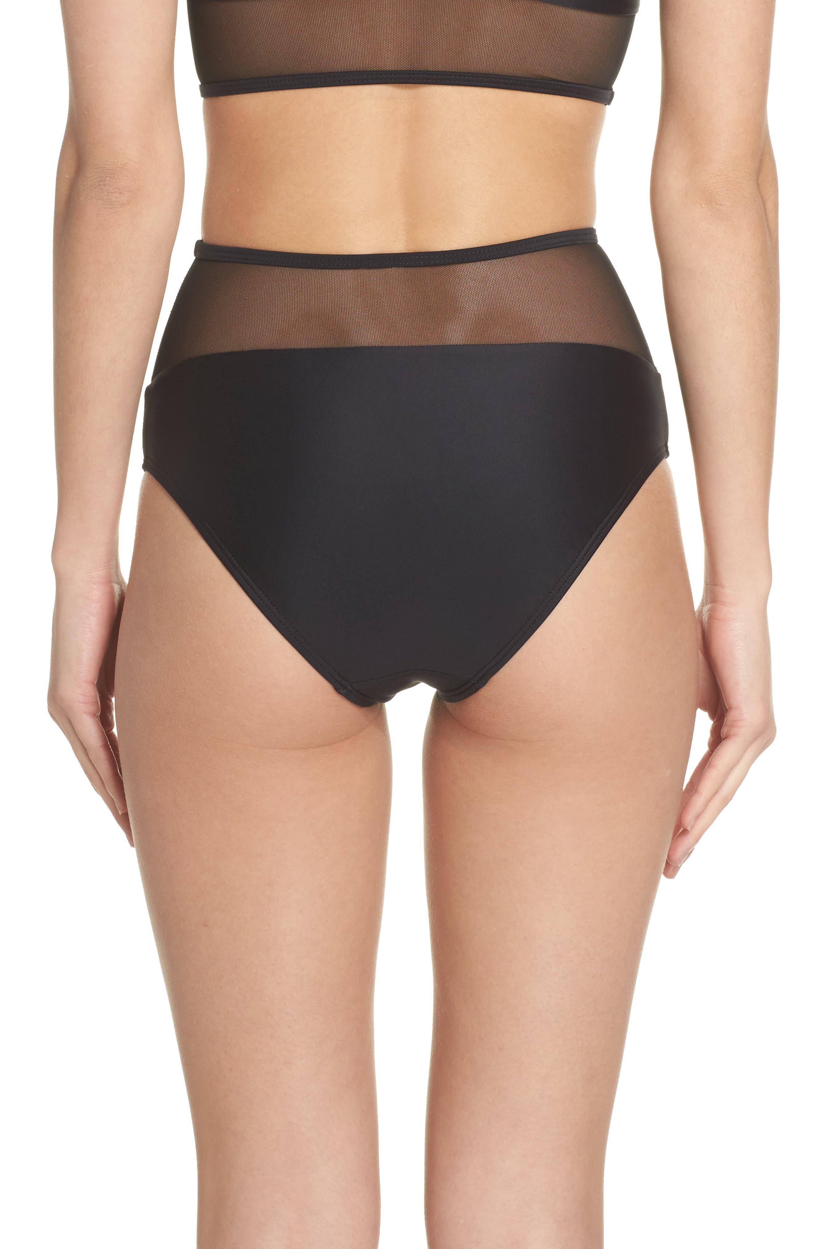 Contour High Waist Bikini Bottoms,                             Alternate thumbnail 2, color,                             Black