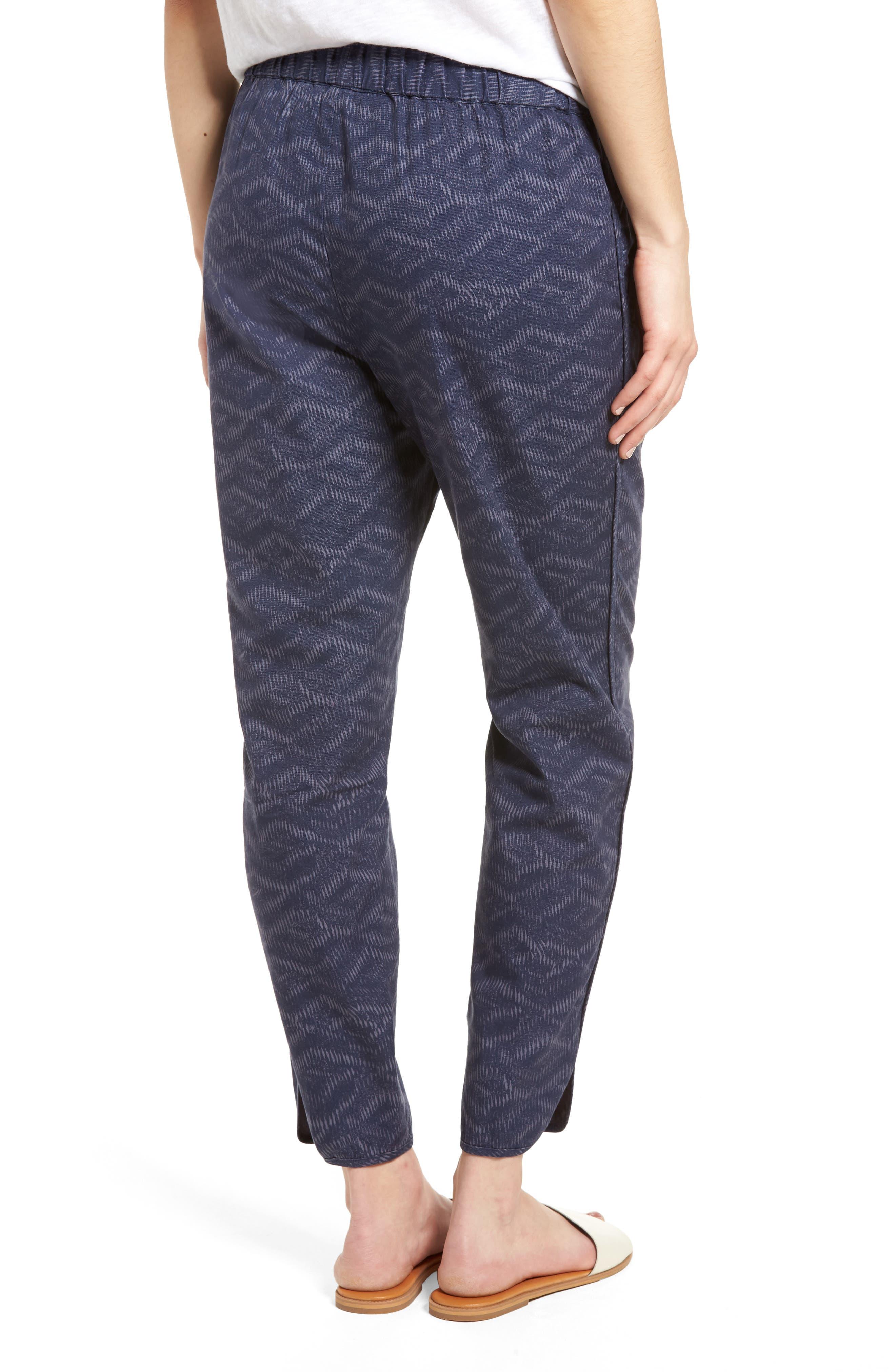 Pattern Cotton Blend Drawstring Pants,                             Alternate thumbnail 2, color,                             Navy Ikat Diamonds