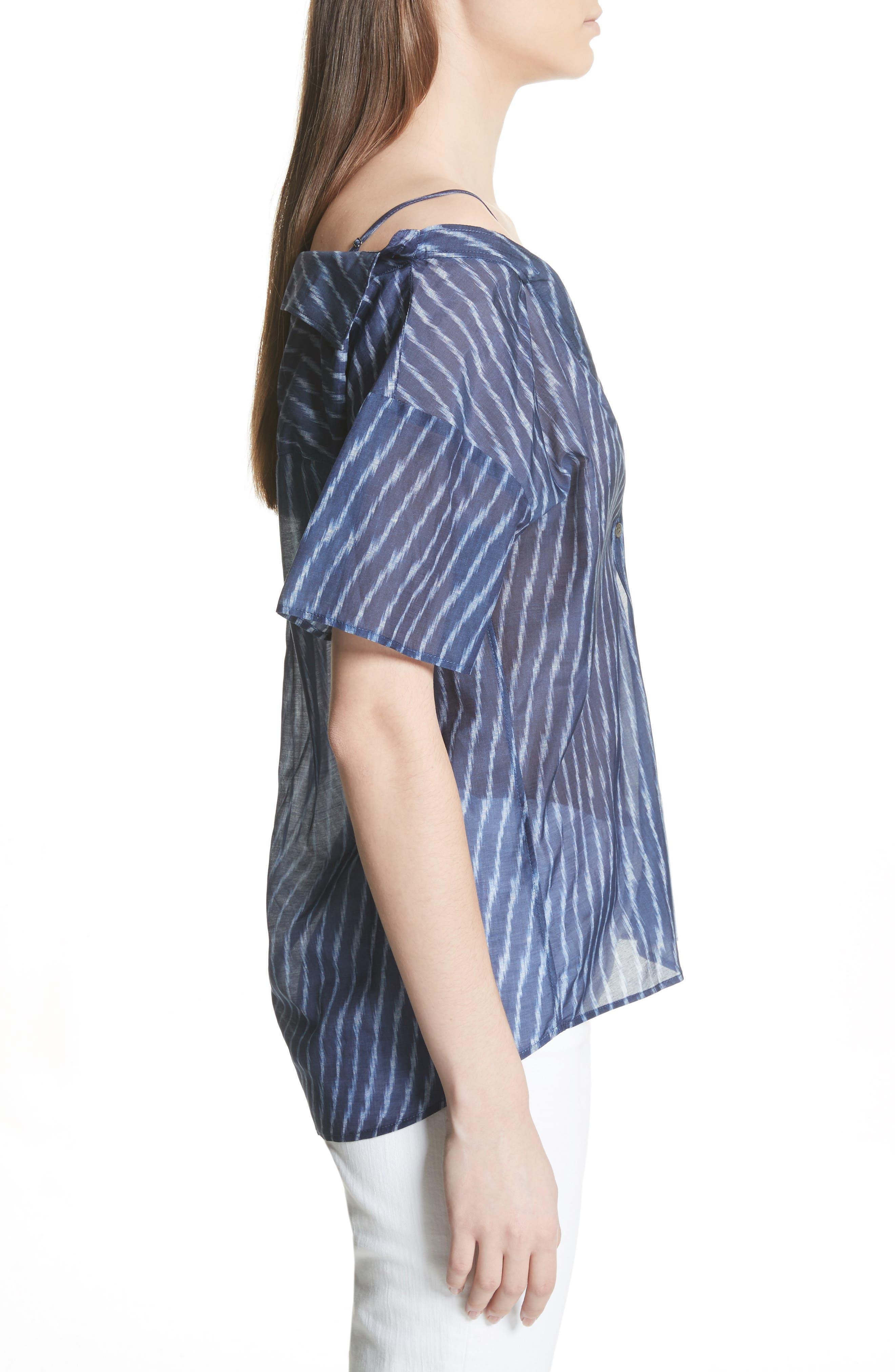 Modified Cold Shoulder Cotton Lawn Blouse,                             Alternate thumbnail 3, color,                             Blue Multi