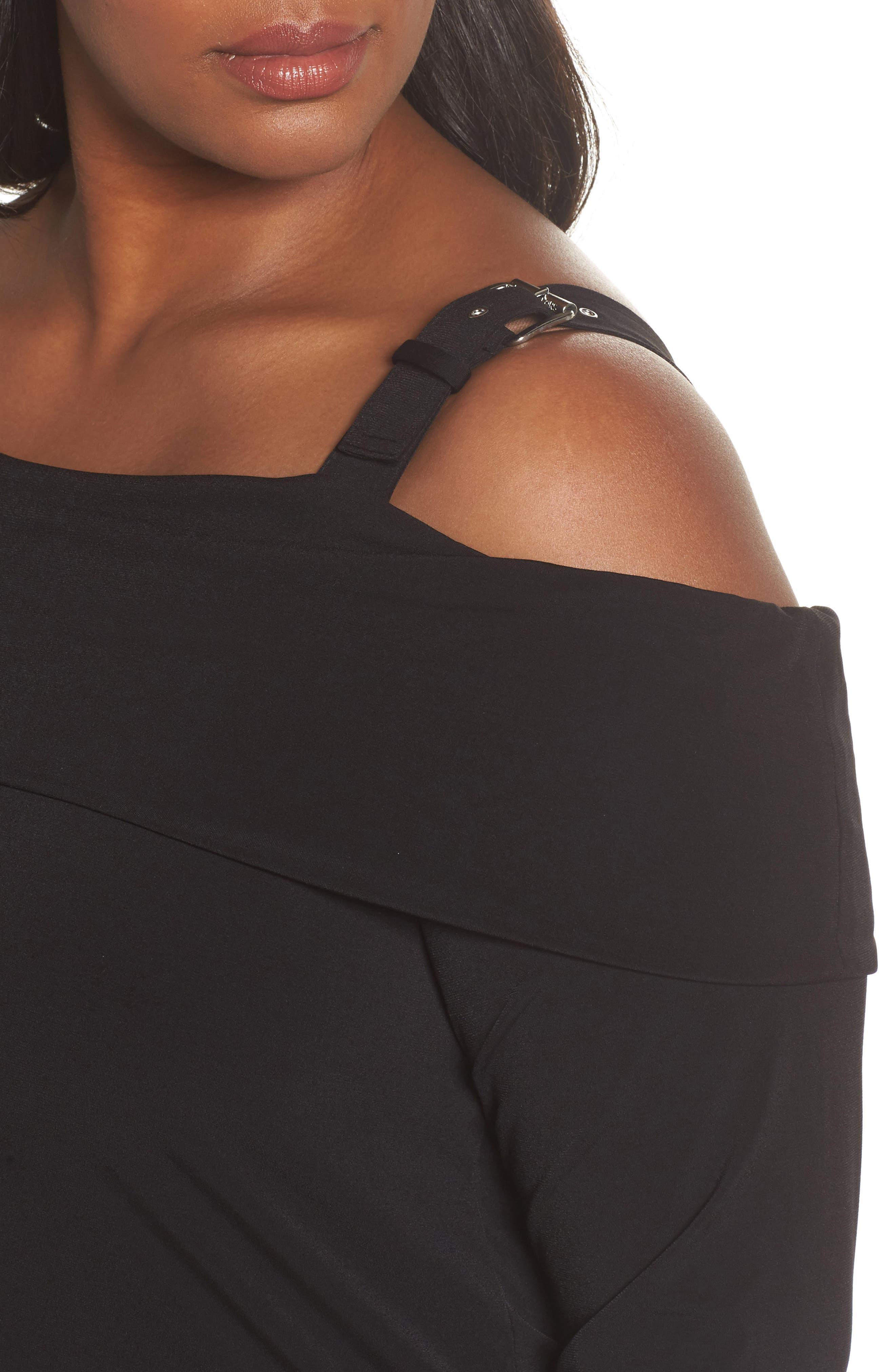 Alternate Image 4  - MICHAEL Michael Kors Buckle Strap Off the Shoulder Top (Plus Size)