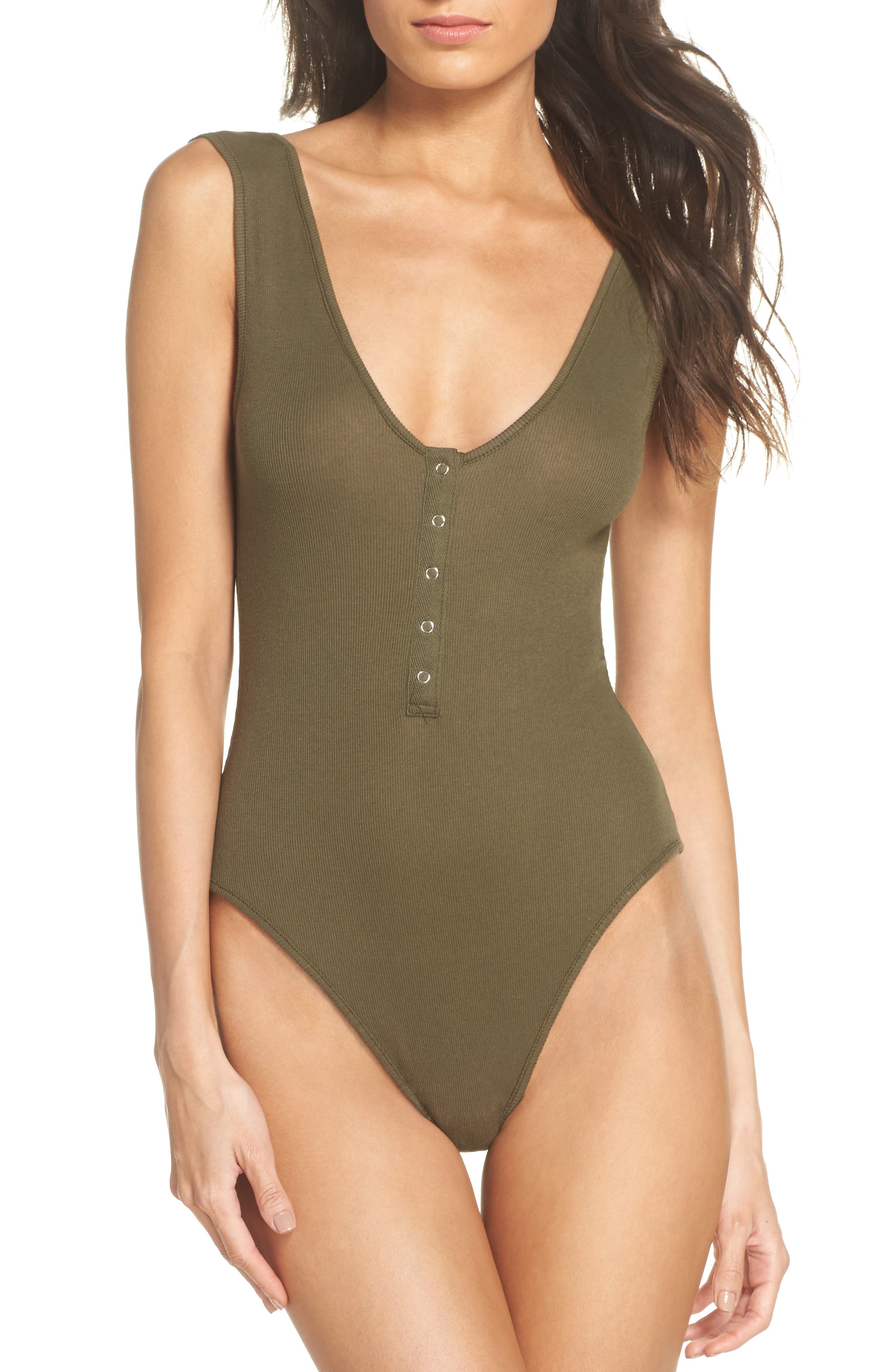 Intimately FP Tank Bodysuit,                             Main thumbnail 1, color,                             Army