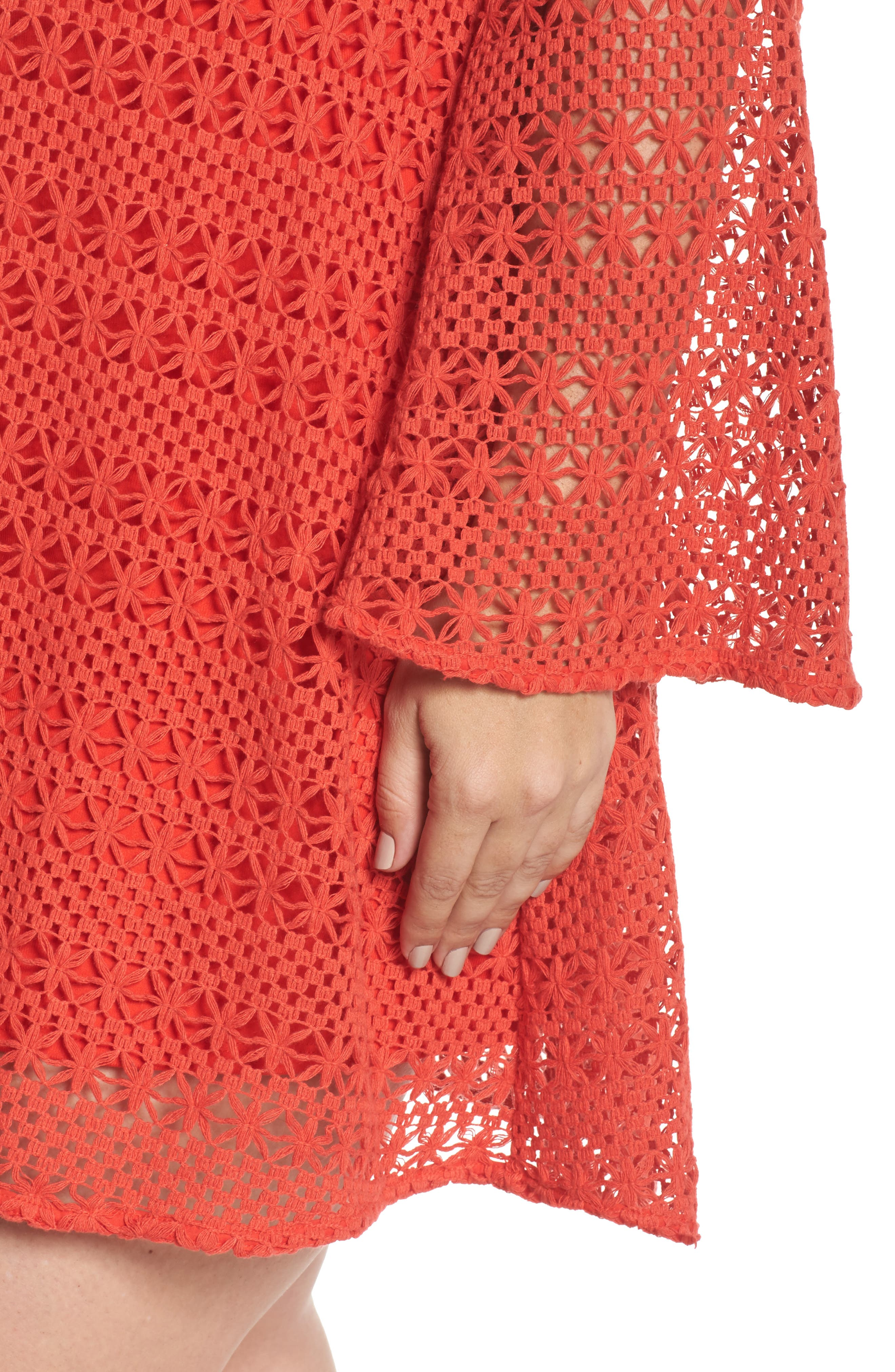 The Dahlia Bell Sleeve Crochet Shift Dress,                             Alternate thumbnail 4, color,                             Red
