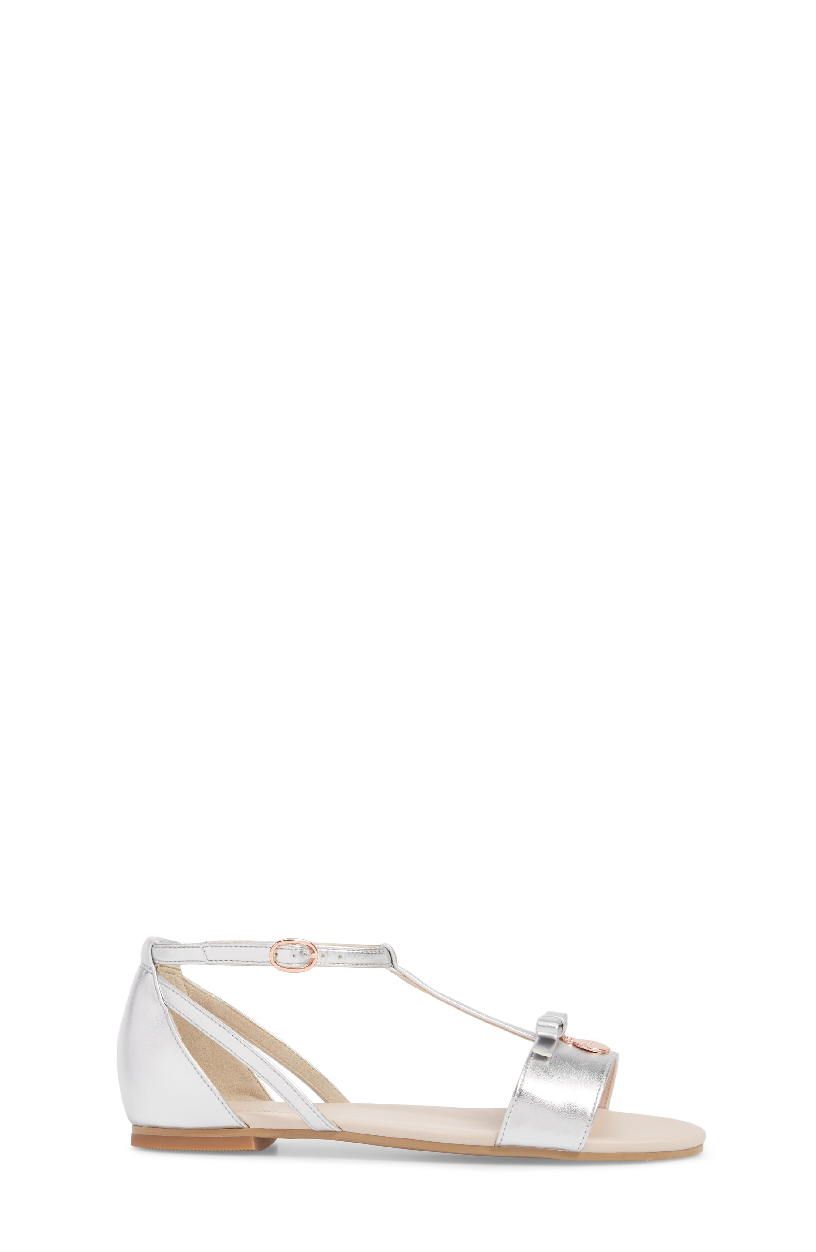 Valentina Metallic T-Strap Sandal,                             Alternate thumbnail 3, color,                             Silver Faux Leather