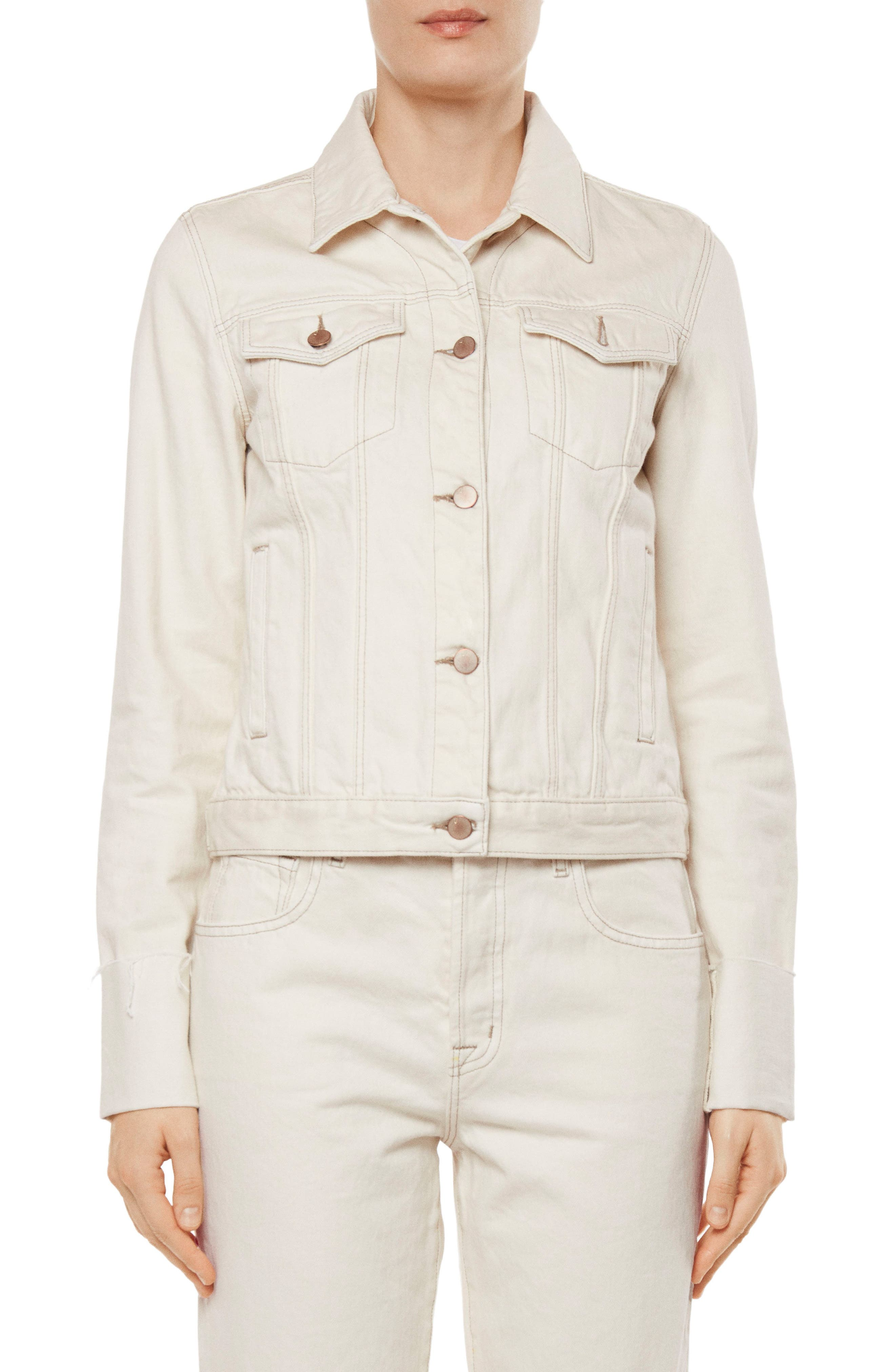 Raw Edge Cuff Denim Jacket,                         Main,                         color, Macadamia