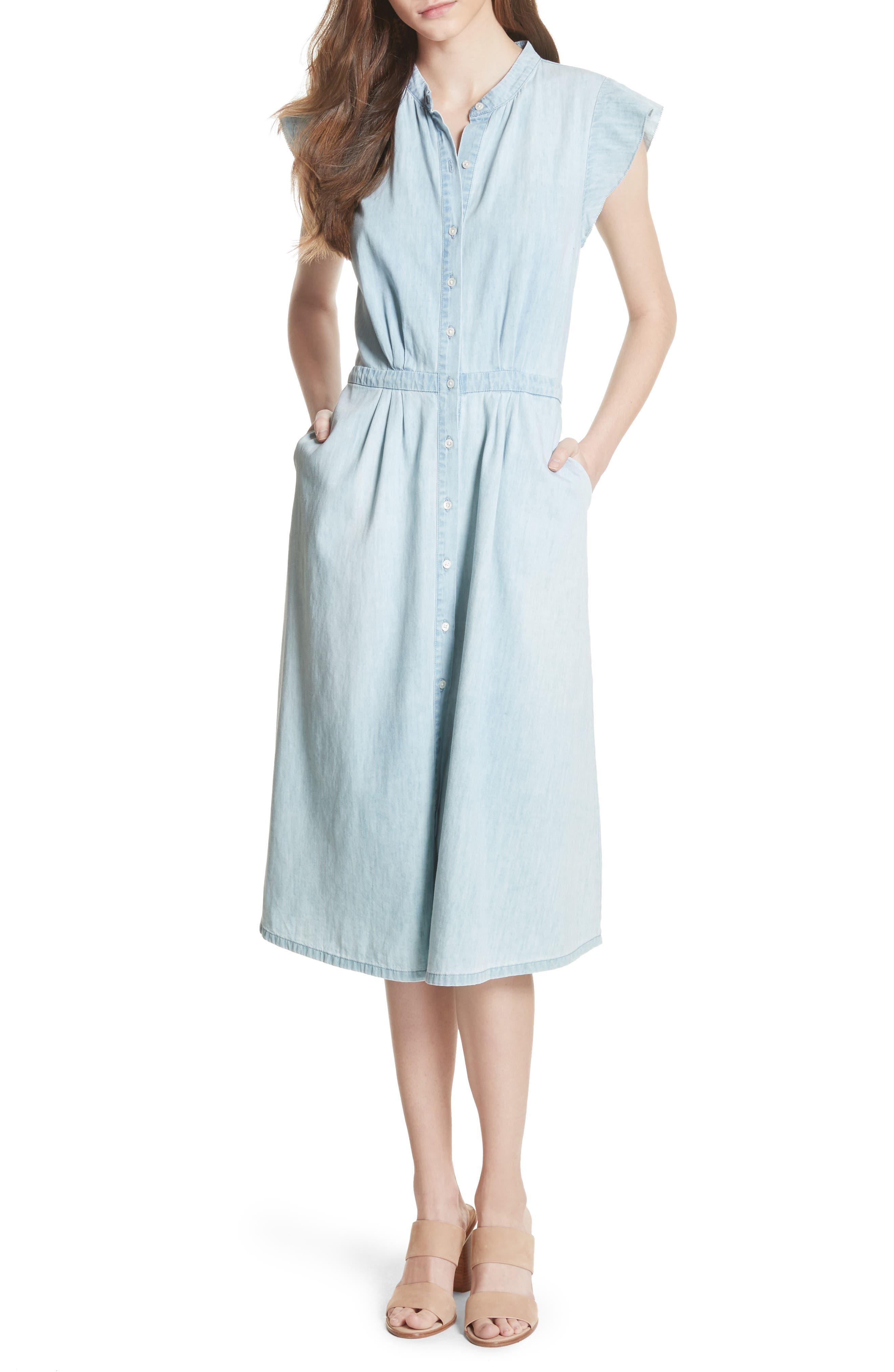 Awel Ruffle Chambray Shirtdress,                             Main thumbnail 1, color,                             Western Fade