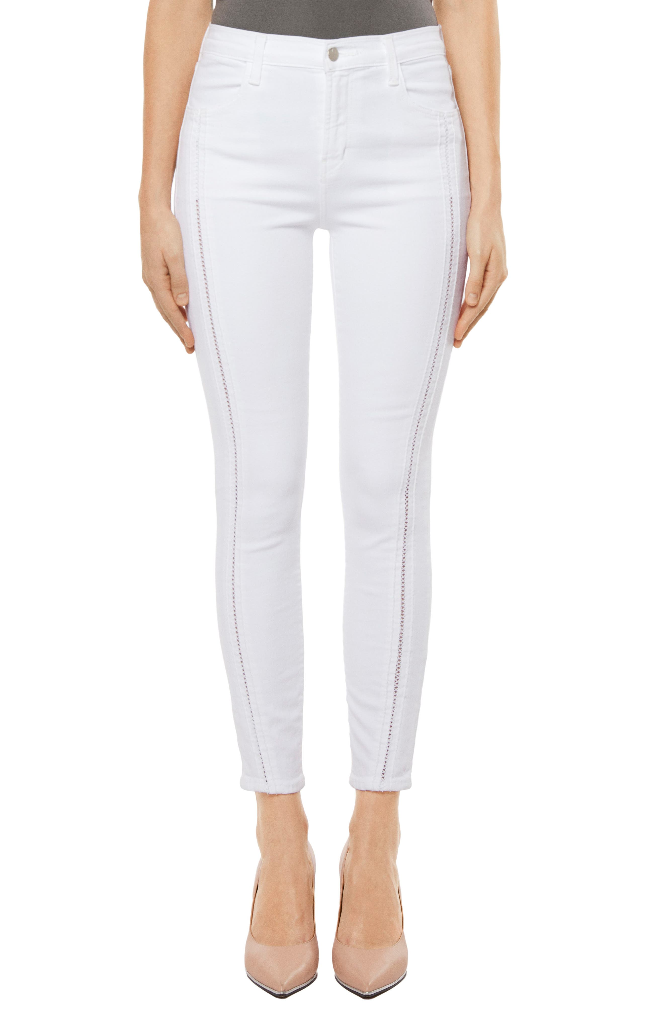 Alana High Waist Crop Skinny Jeans,                         Main,                         color, White Ladder Lace