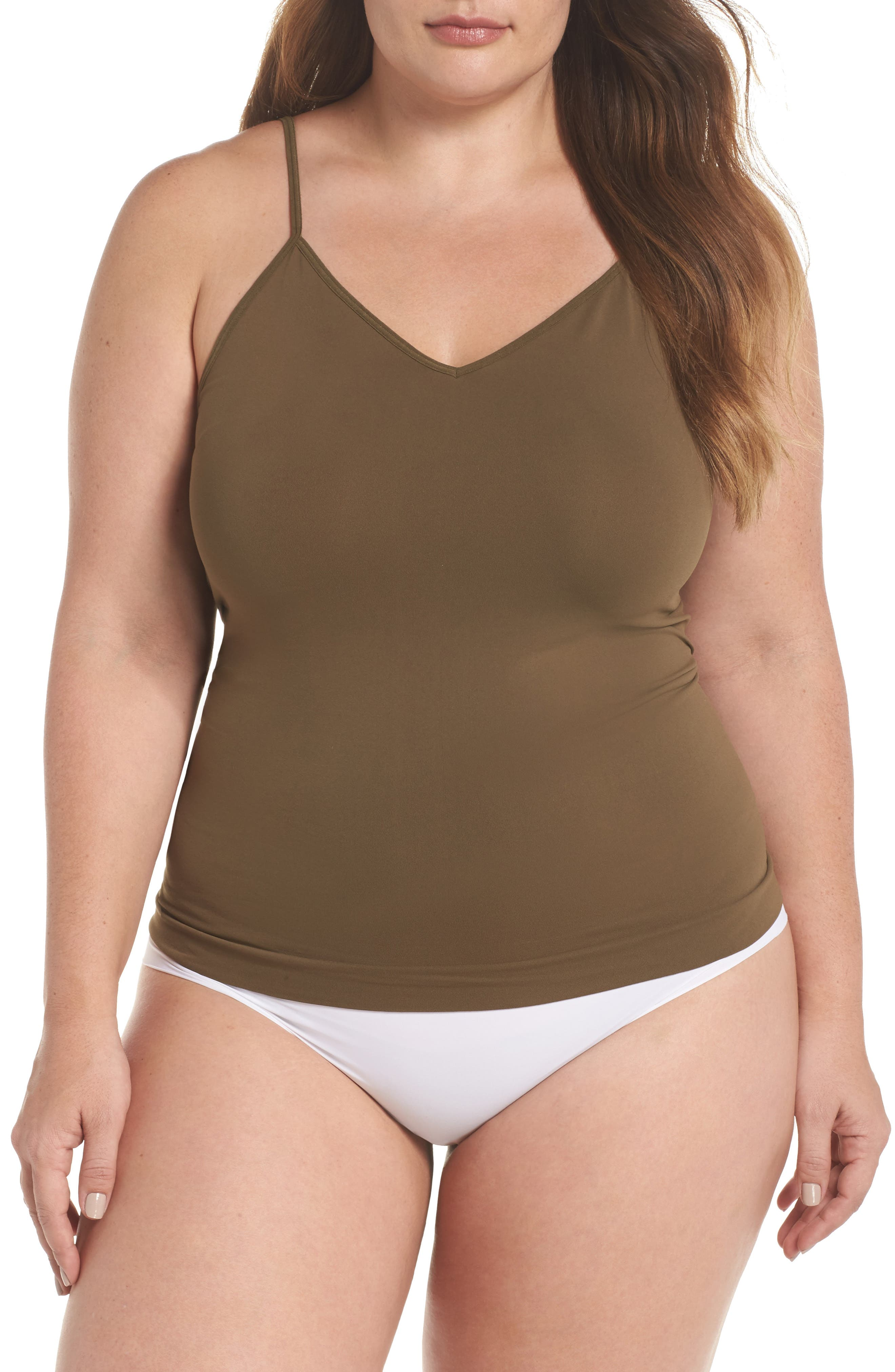 Seamless Two-Way Camisole,                         Main,                         color, Olive Tree