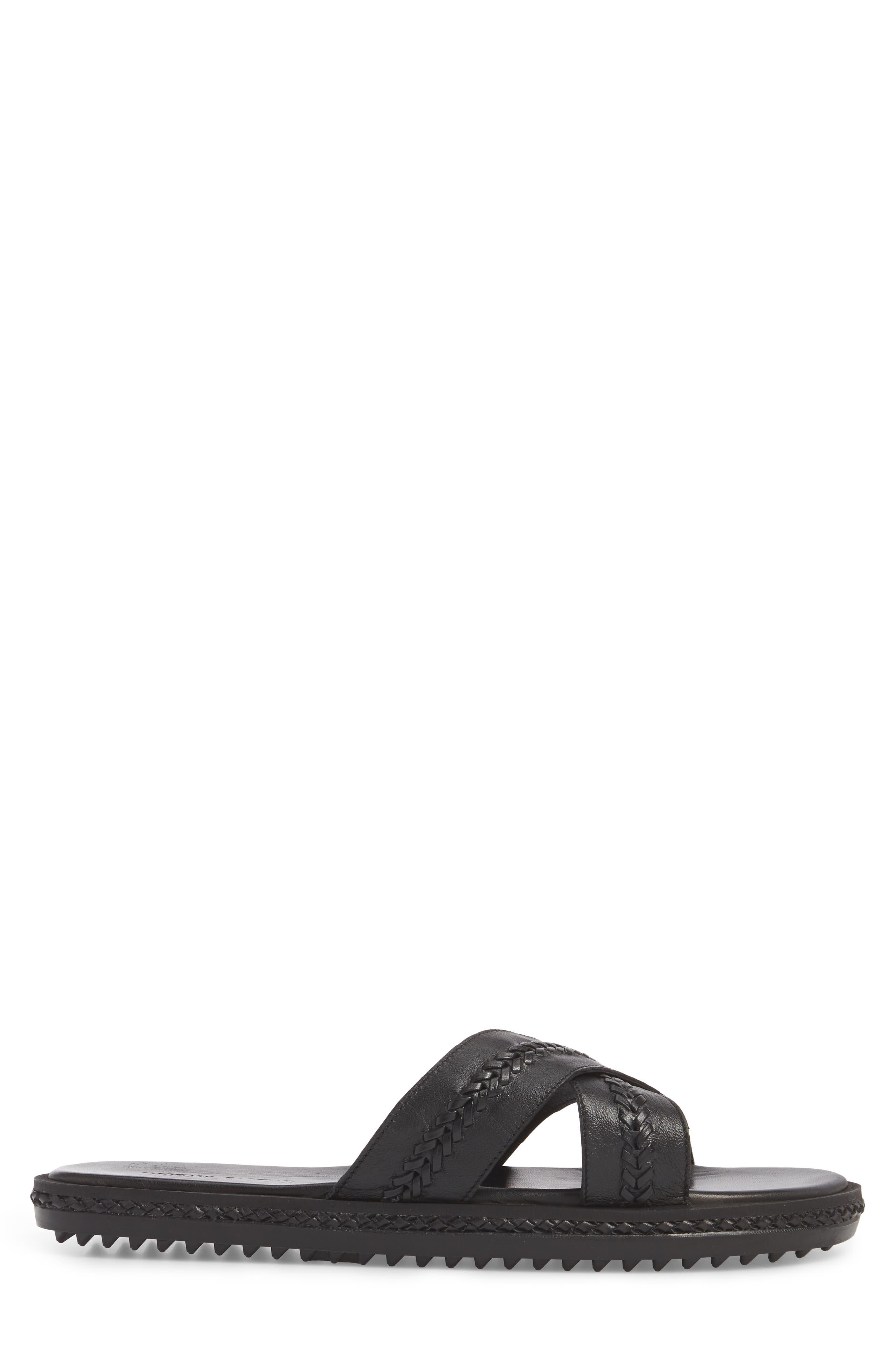 Woven Cross Strap Slide Sandal,                             Alternate thumbnail 3, color,                             Black Leather