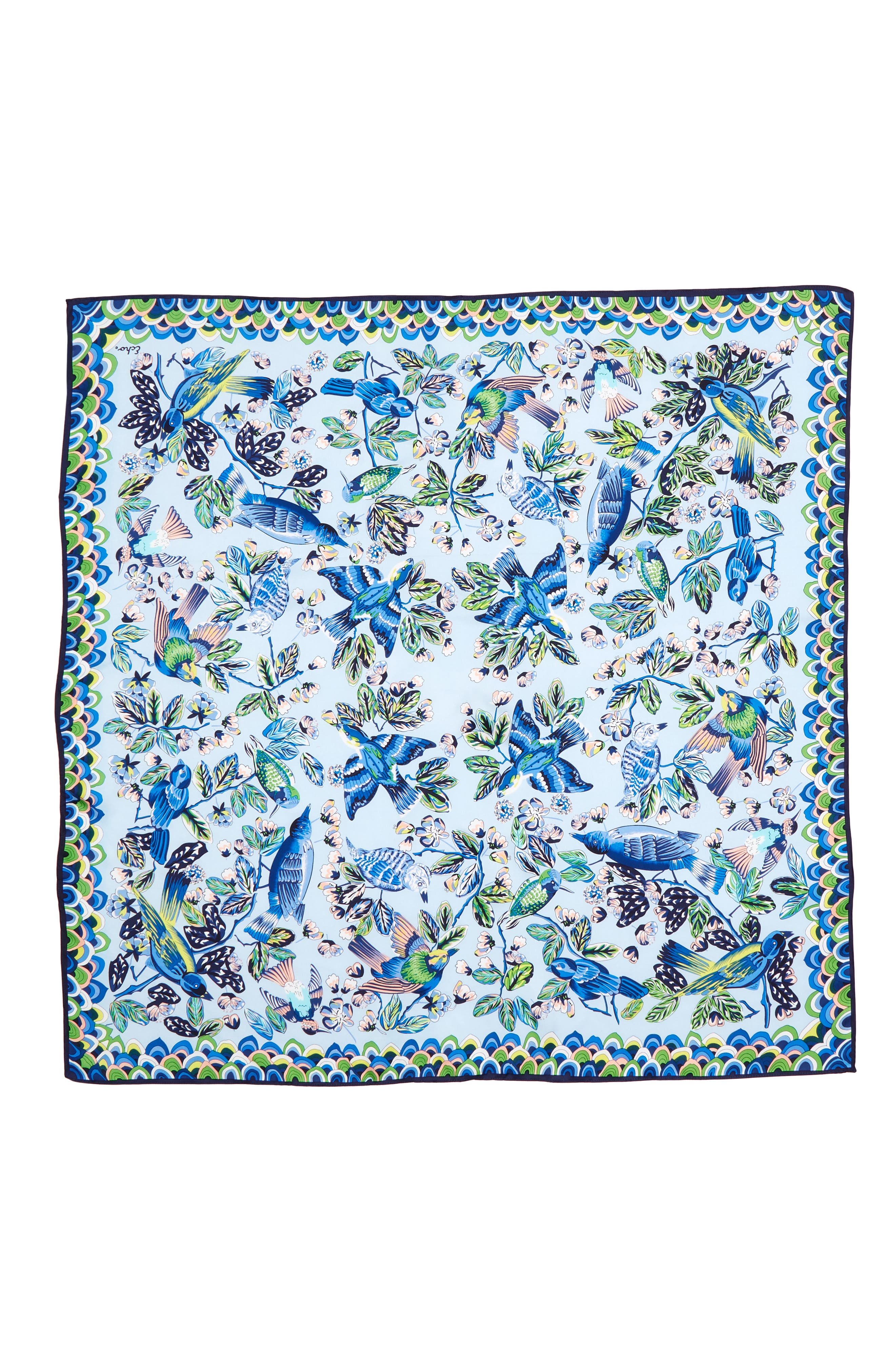 Flight of Fancy Square Silk Scarf,                             Alternate thumbnail 3, color,                             Blue Bell