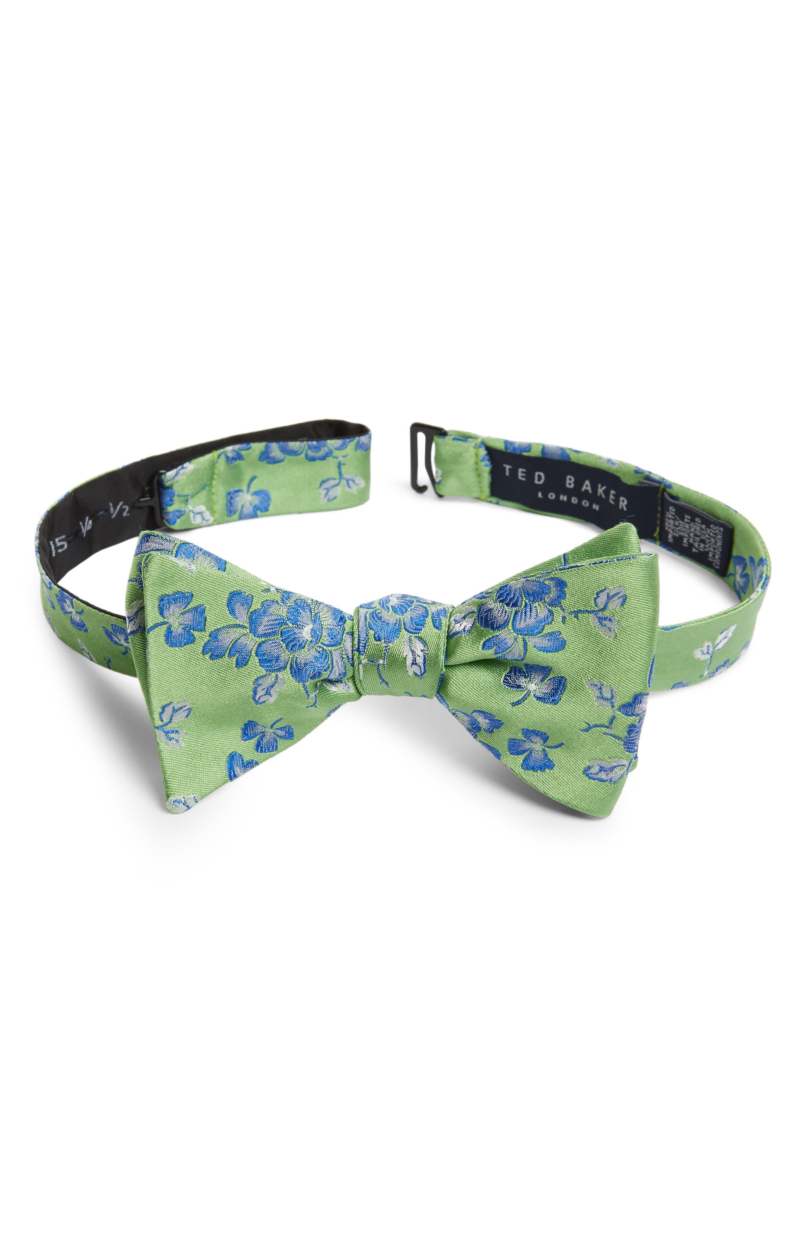 Floral Silk Bow Tie,                             Main thumbnail 1, color,                             Green