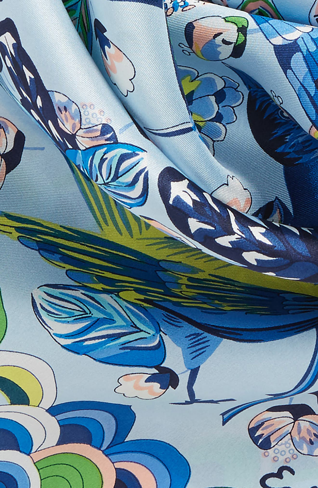 Flight of Fancy Square Silk Scarf,                             Alternate thumbnail 4, color,                             Blue Bell