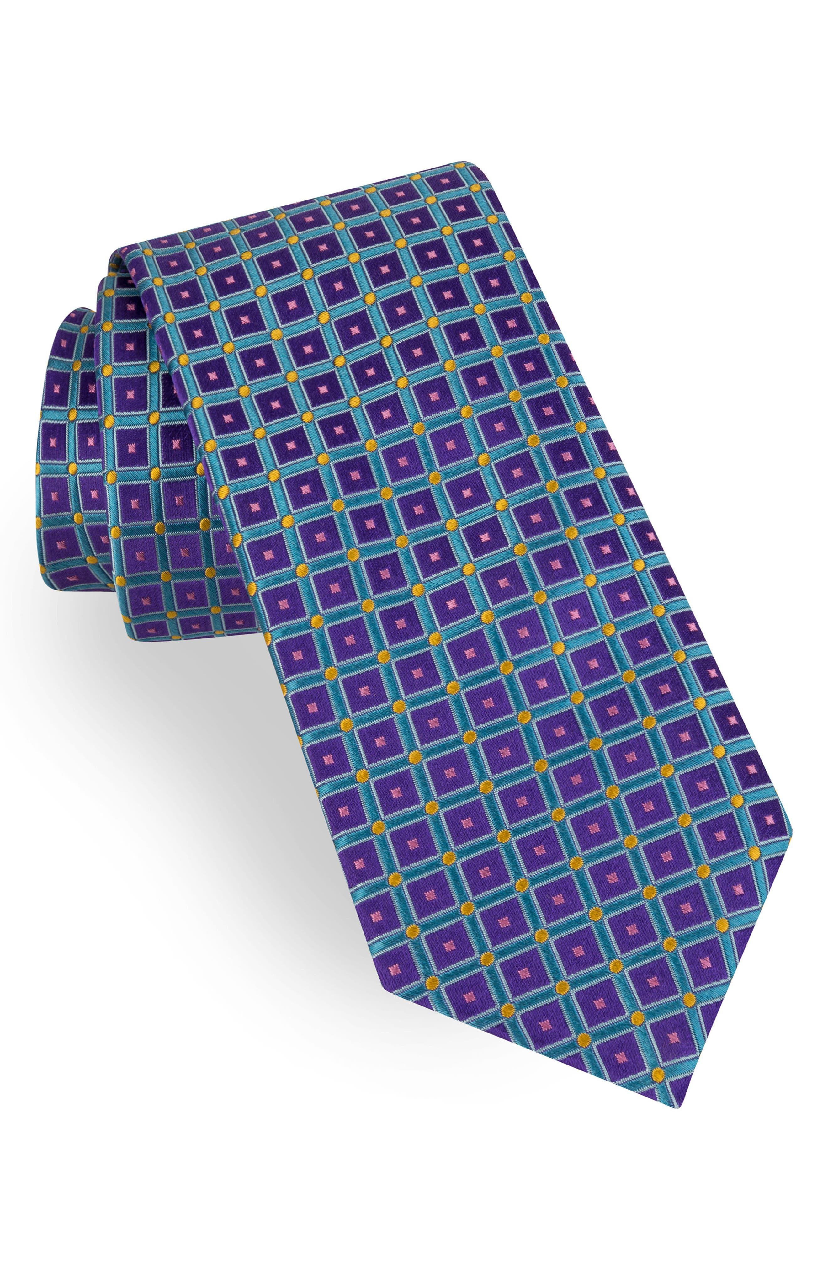 Grid Silk Tie,                             Main thumbnail 1, color,                             Purple