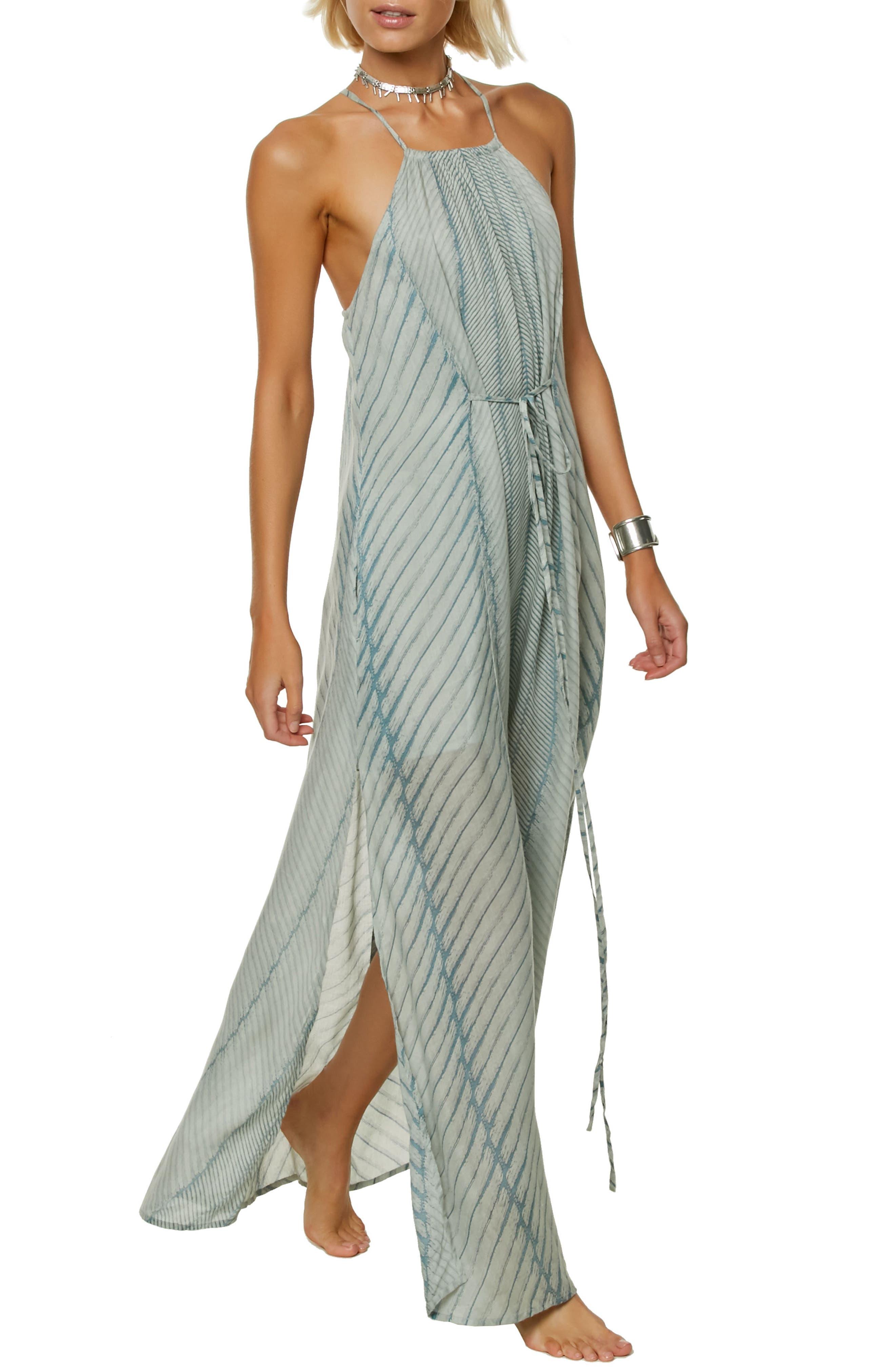 Lenore Stripe Maxi Dress,                             Main thumbnail 1, color,                             Capri Breeze