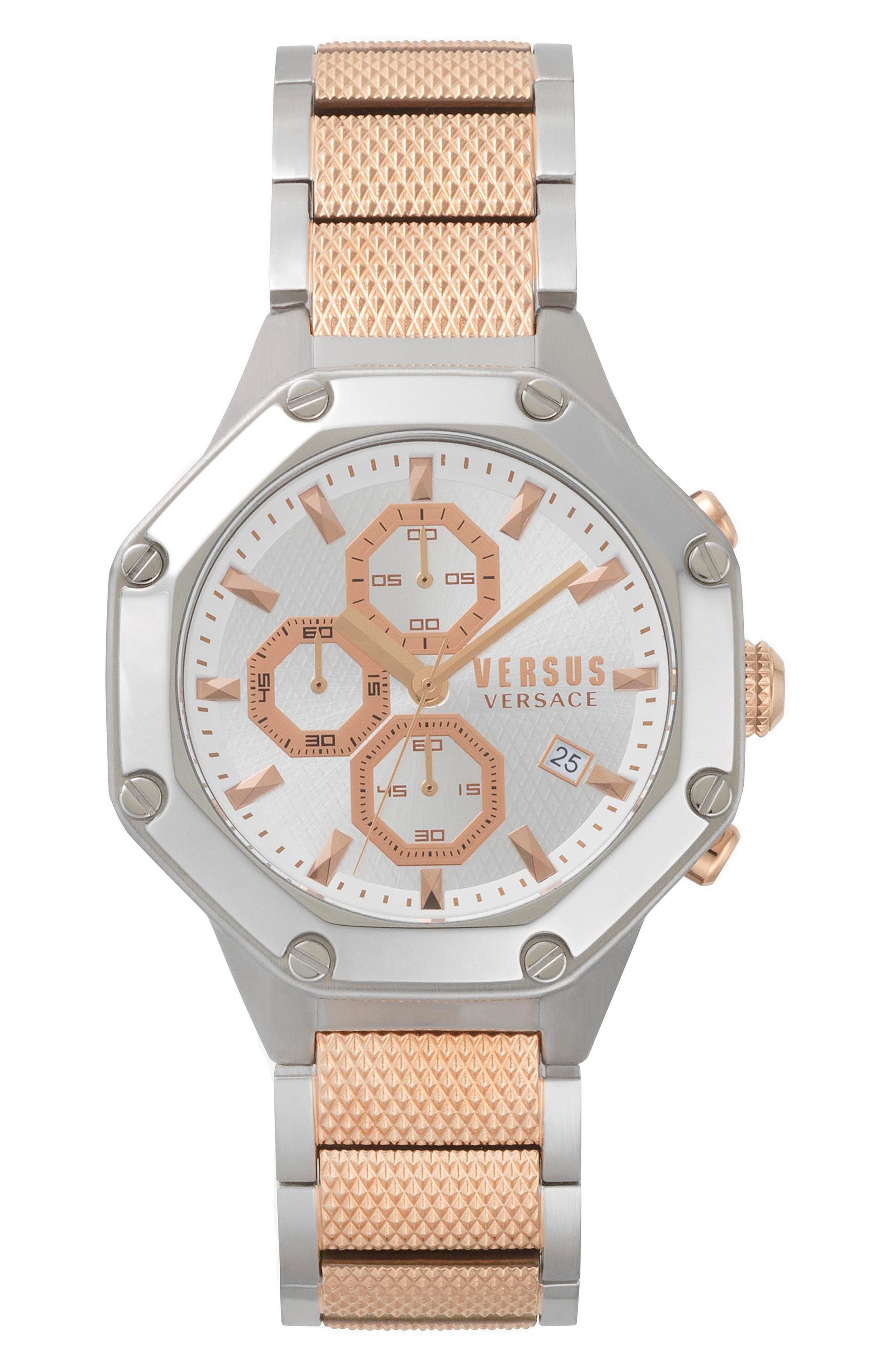 VERSUS by Versace Kowloon Chronograph Bracelet Watch, 45mm,                         Main,                         color, Rose Gold/ White/ Silver