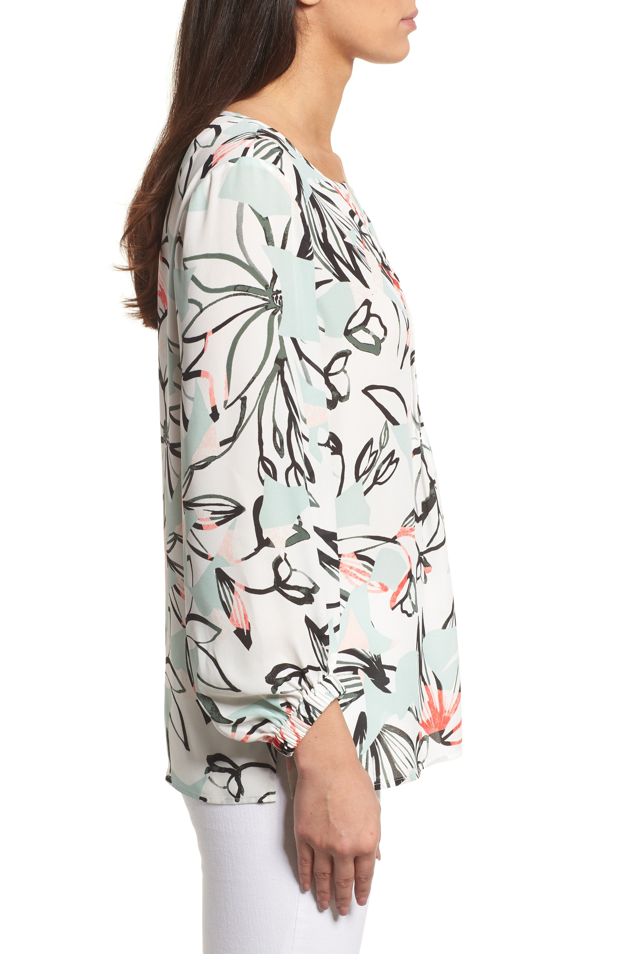 Jungle Collage Pintuck Blouse,                             Alternate thumbnail 3, color,                             103-New Ivory