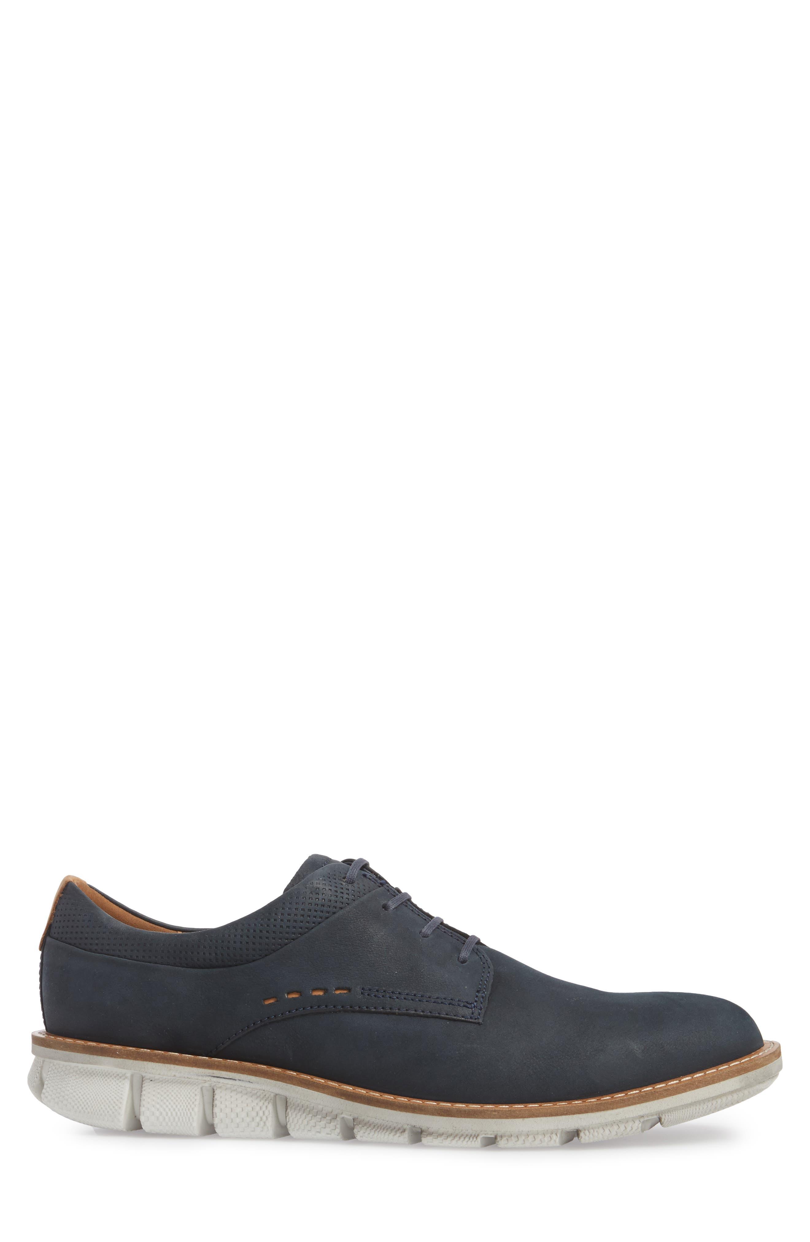 Jeremy Hybrid Plain Toe Derby,                             Alternate thumbnail 5, color,                             Navy Leather